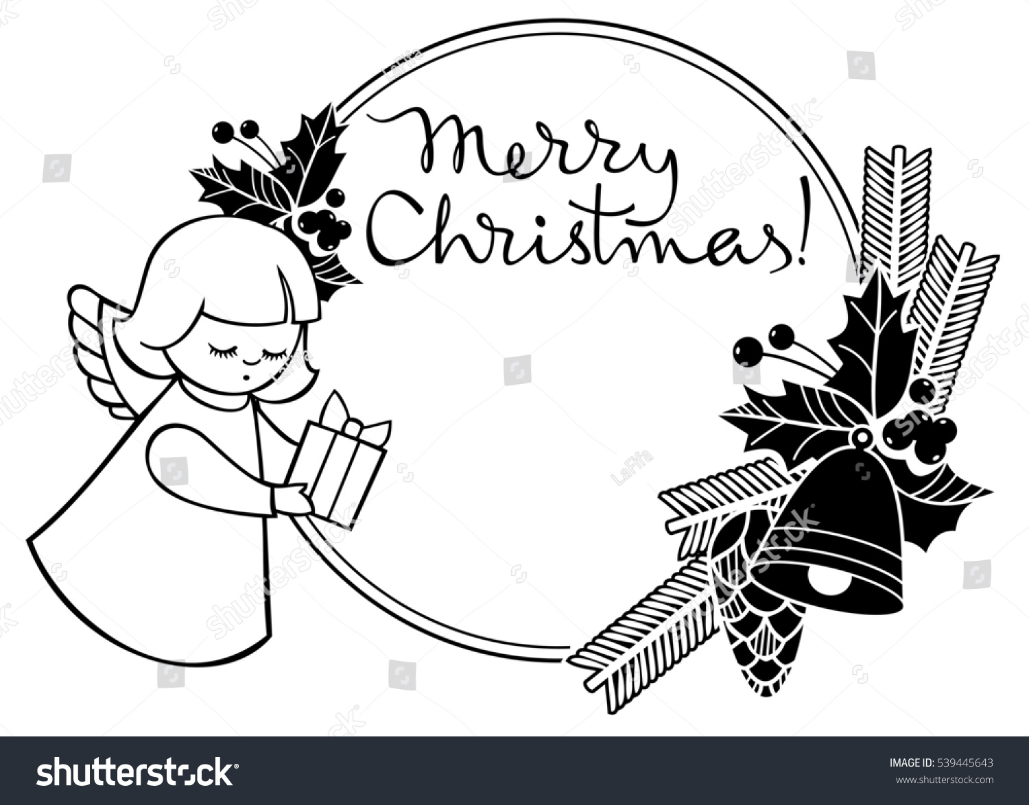 black and white christmas label with angel and artistic written text merry christmas - When Was White Christmas Written