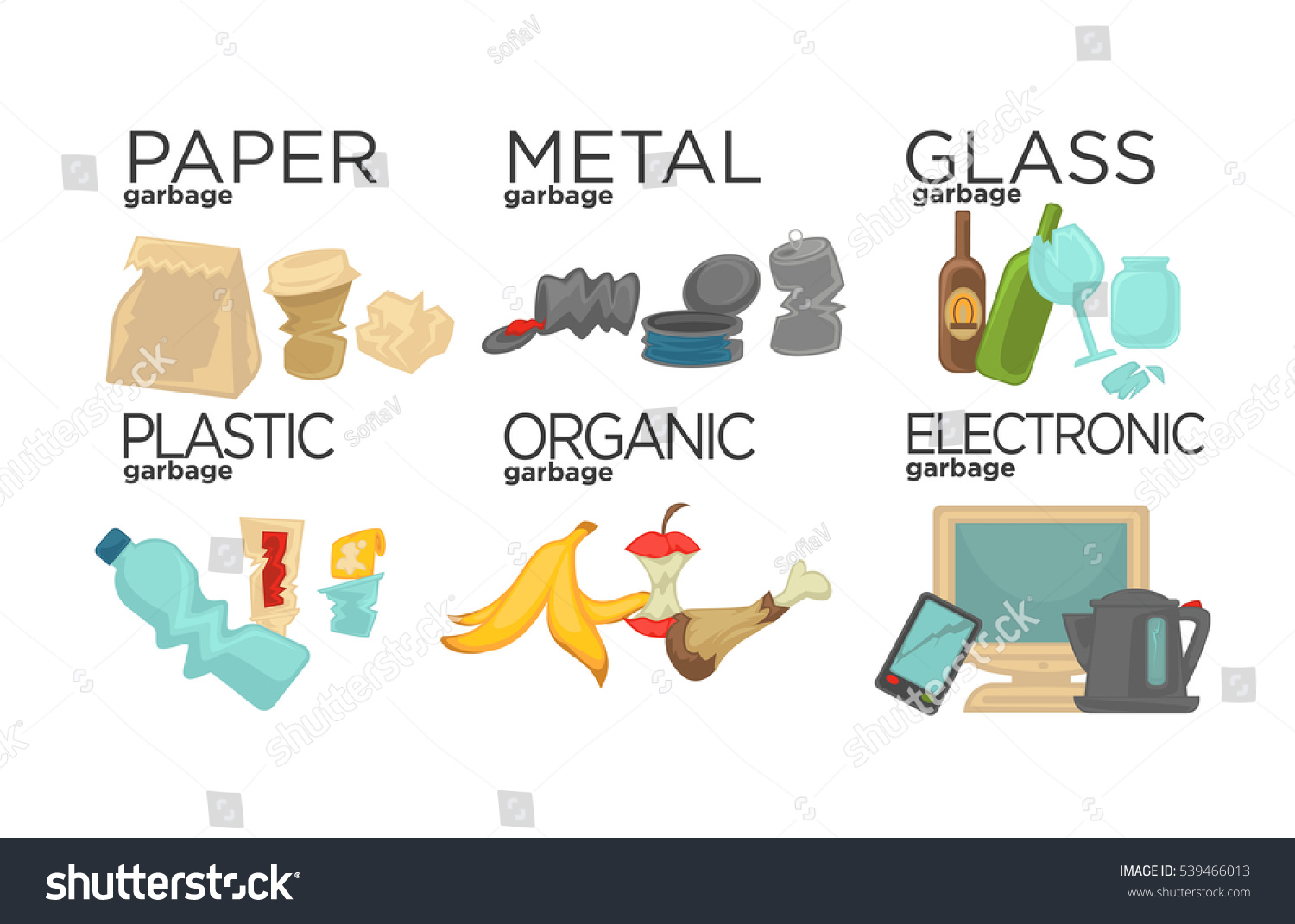 Vector E Sanitary Service : Garbage sorting food waste glass metal stock vector