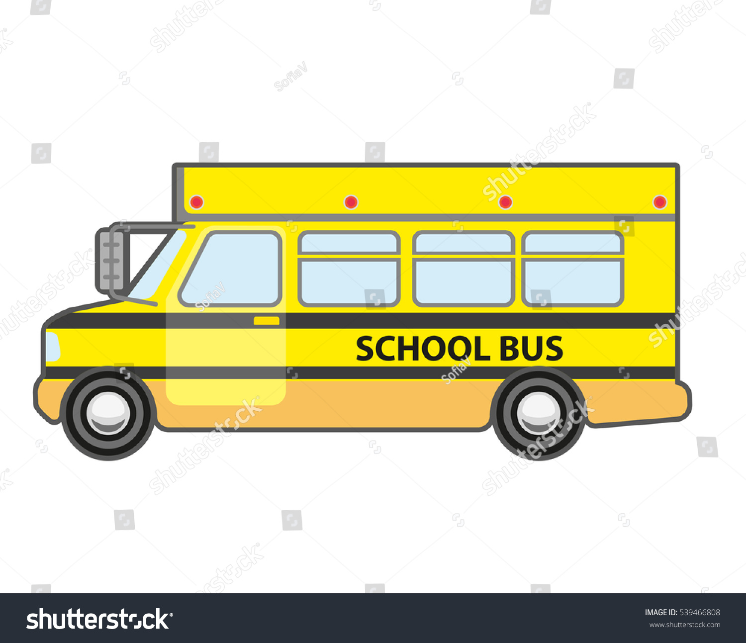 yellow bus icon vehicle kids stock vector 539466808