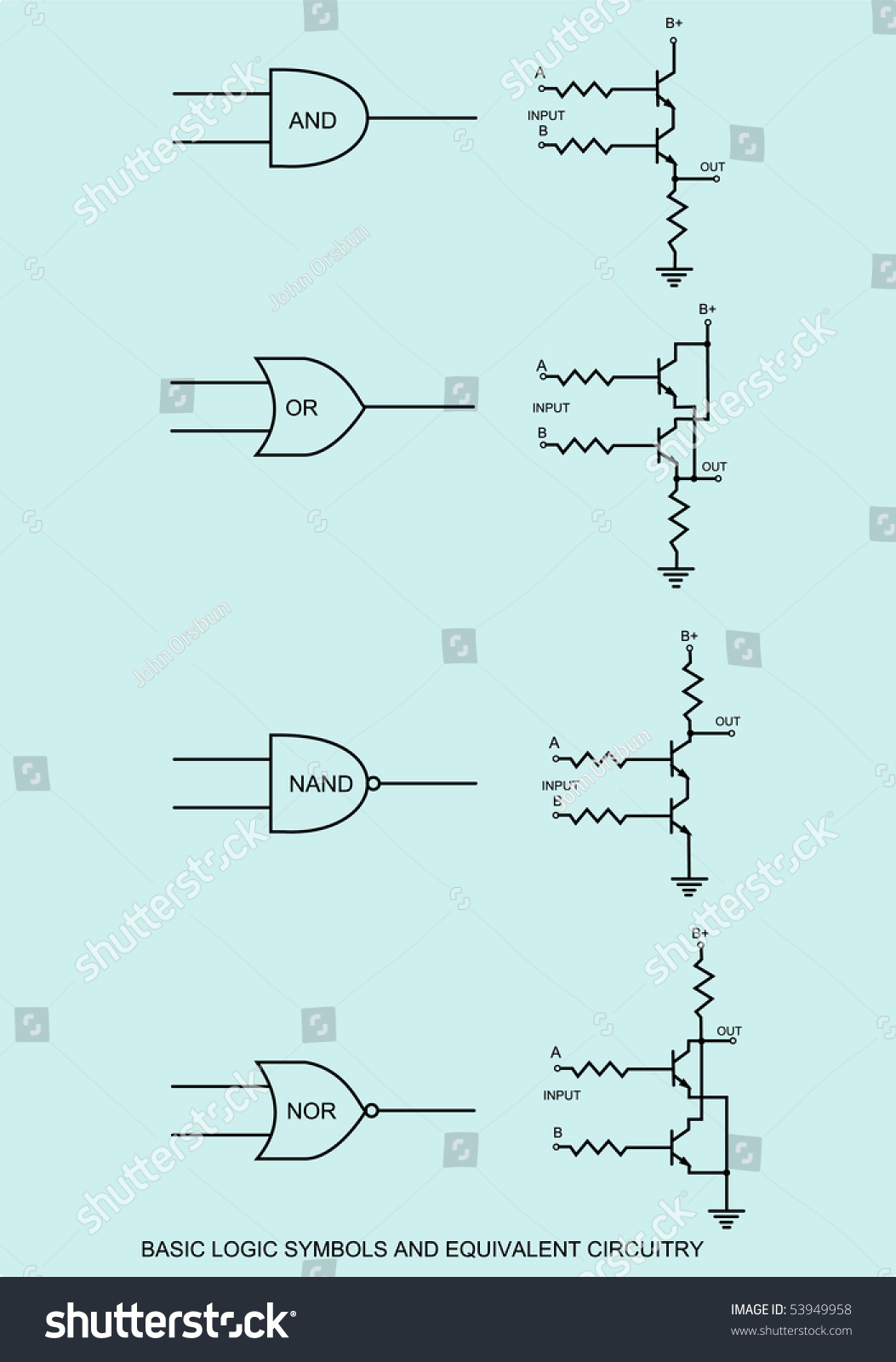 Symbolf Of Transistor Schematic Trusted Schematics Diagram Mosfetcircuitsymbols Raster Drawing Logic Symbols Equivalent Stock And Circuits