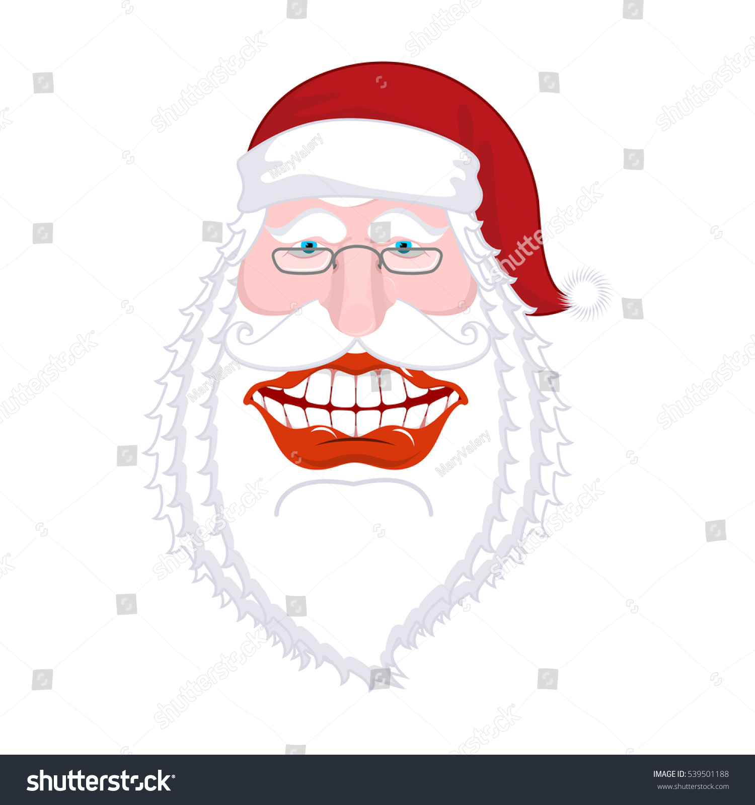 Merry Santa Claus nicker. Broad smile. large mouth. Merry Christmas ...