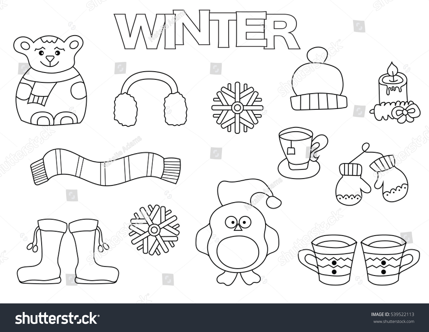 Winter Set Hand Draw Coloring Book Stock Vector 539522113 ...