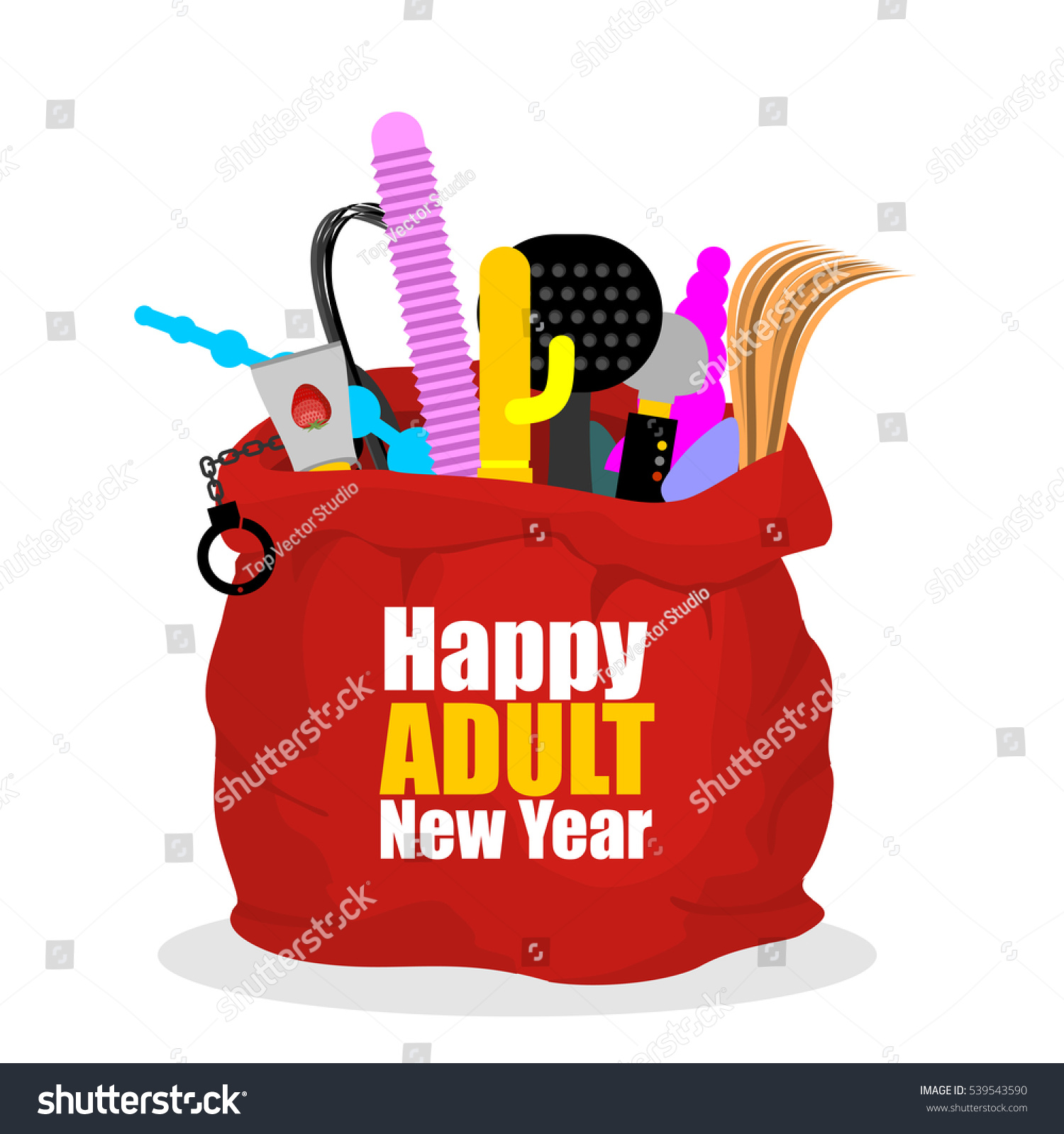 Happy Adult New Year Red Sack Stock Illustration 539543590 -9204