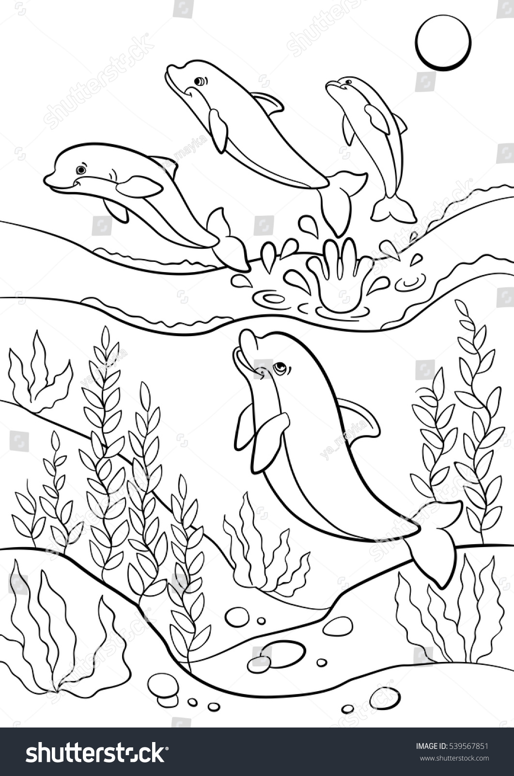 Coloring Pages Marine Wild Animals Cute Stock Vector 539567851 ...