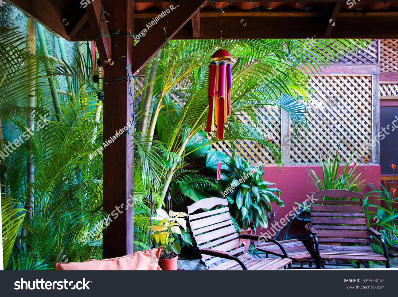 backyard tropical pergola full color bamboo stock photo 539573467