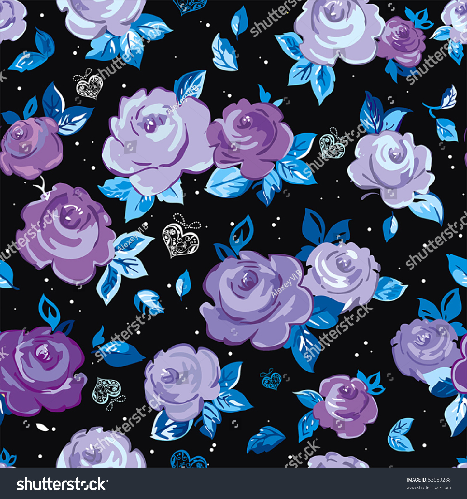 Elegance Seamless wallpaper pattern with of violet roses on black background, vector illustration