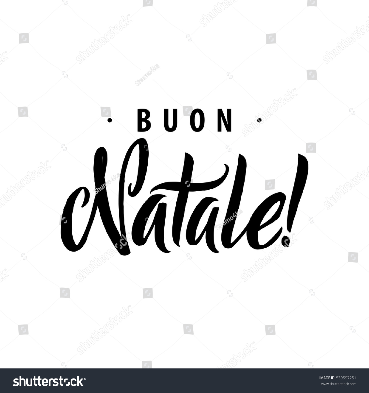 Buon Natale Merry Christmas Calligraphy Template Stock Vector