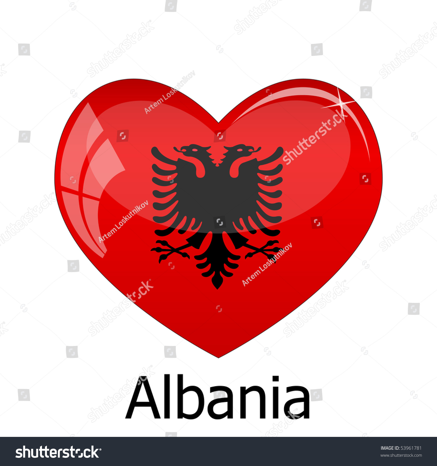 Famous Albanian Landmarks Stock Vector Albania Flag