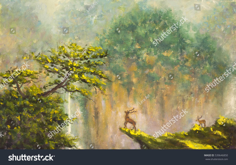 Original Oil Painting Deer On Edge Stock Illustration
