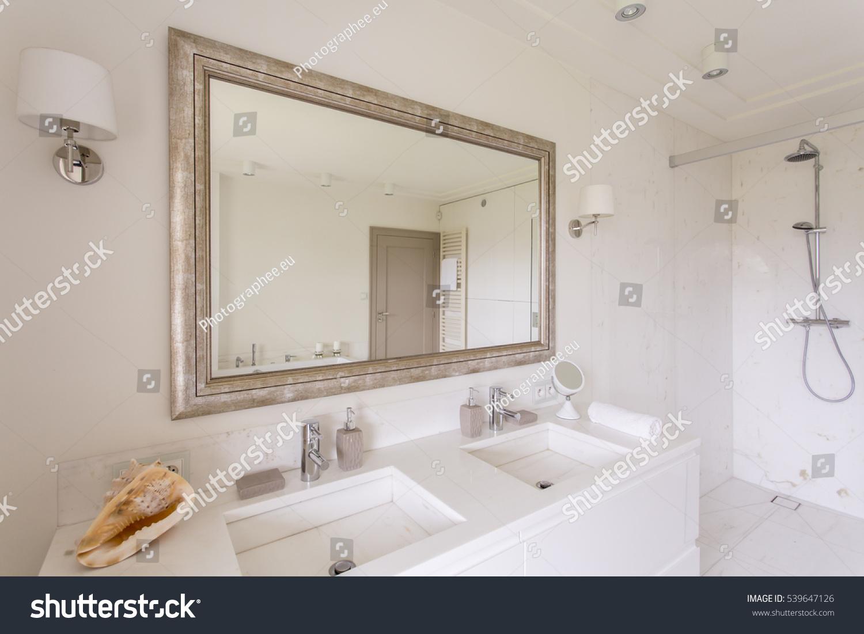 Minimalist Bathroom Large Mirror Decorative Frame Stock Photo ...