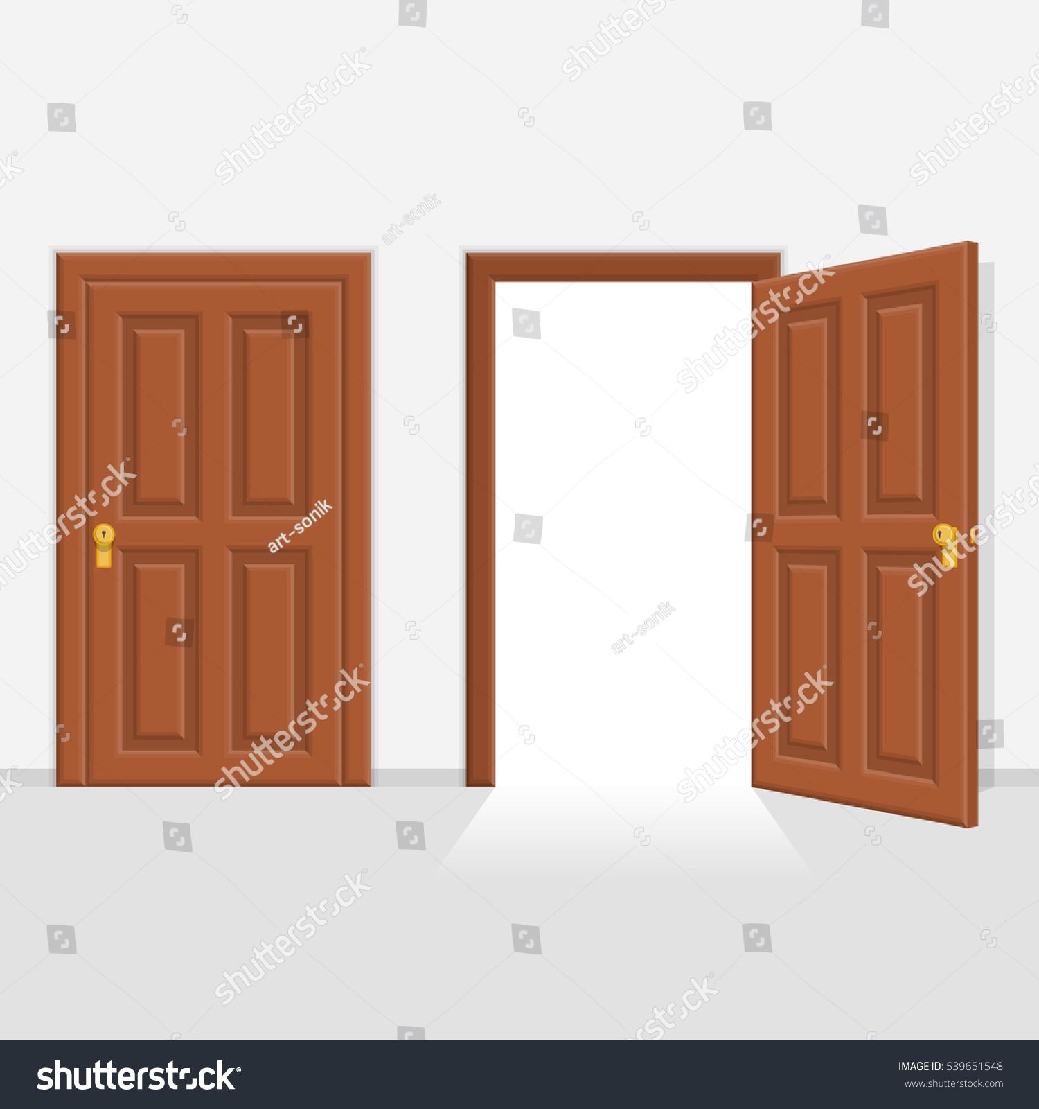 Open And Closed Doors : Open closed brown wooden doors vector stock