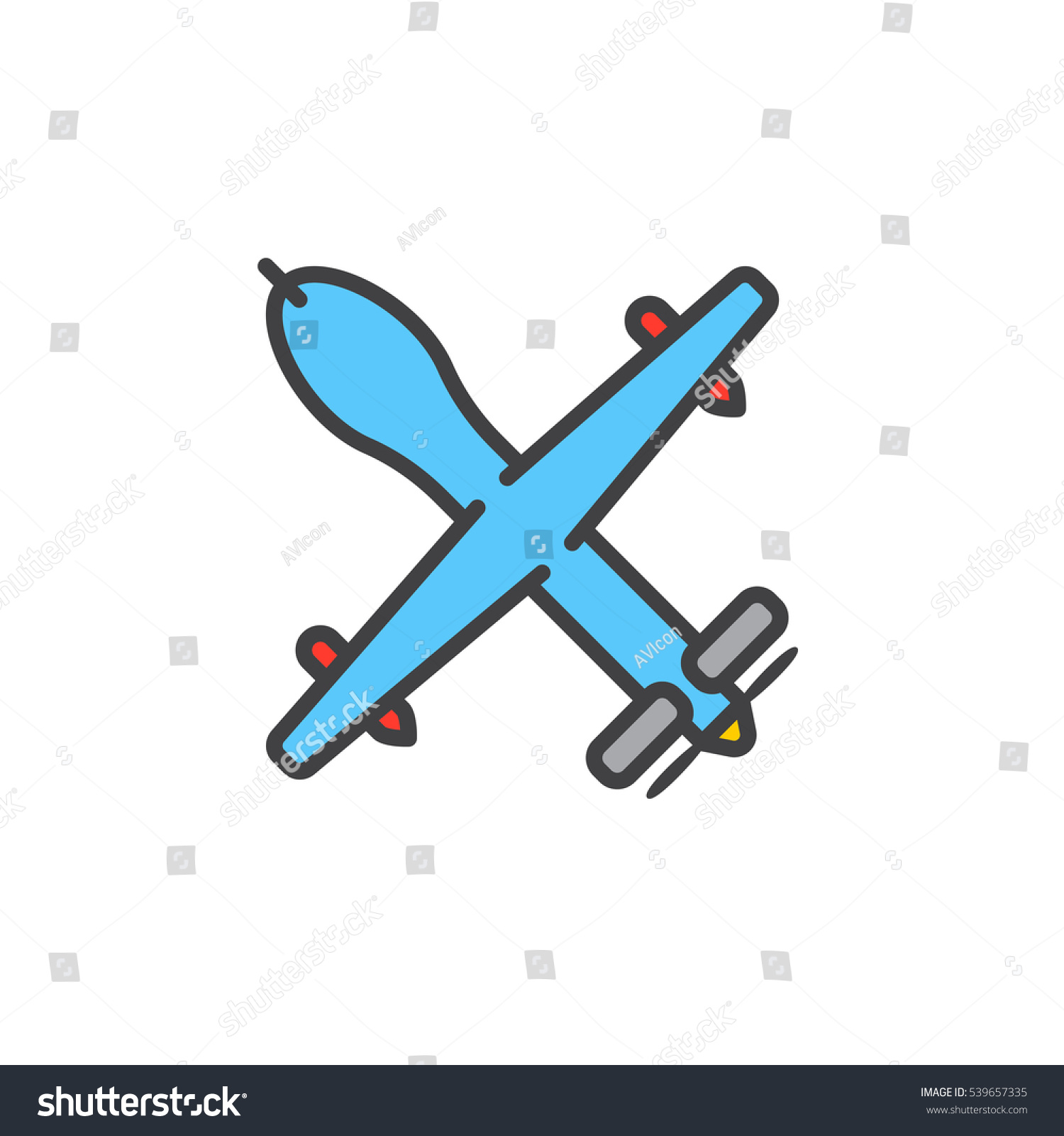 Unmanned Aerial Vehicle Military Drone Line Icon Filled Outline Vector Sign Linear Colorful