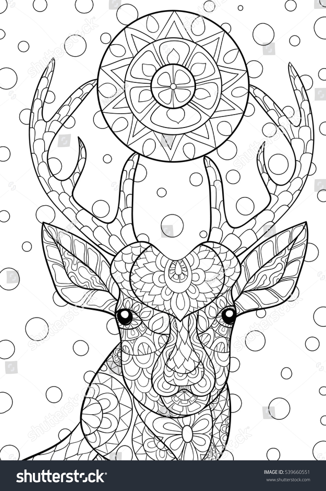 Vector Deer Head Christmas Balls Hanging Stock Vector