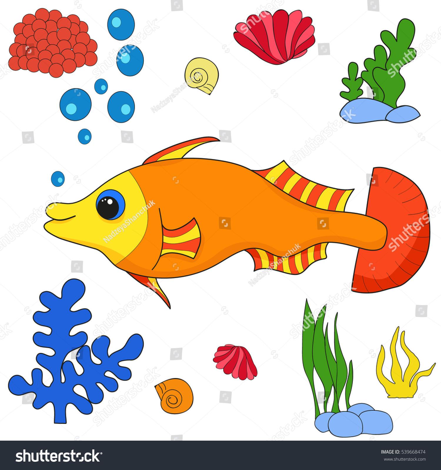 Fish Character Cartoon Vector Stock Vector 539668474