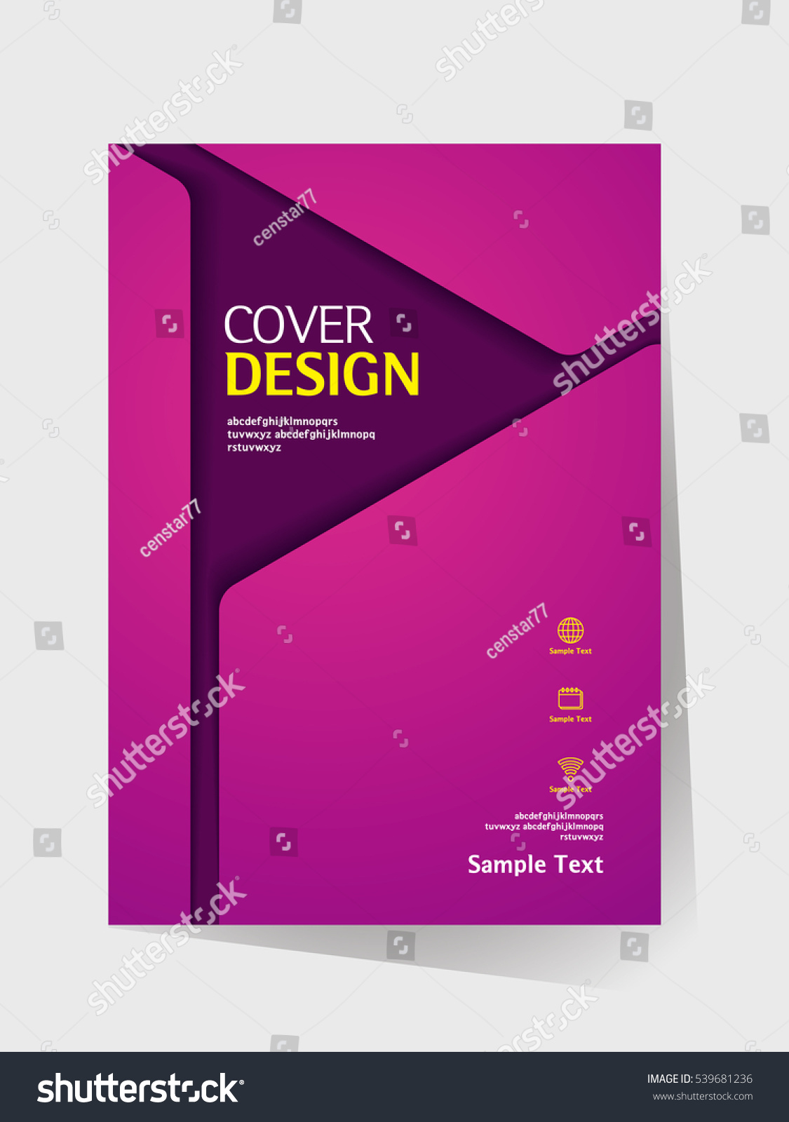 Simple Book Cover Template ~ Brochure design vector template a size stock