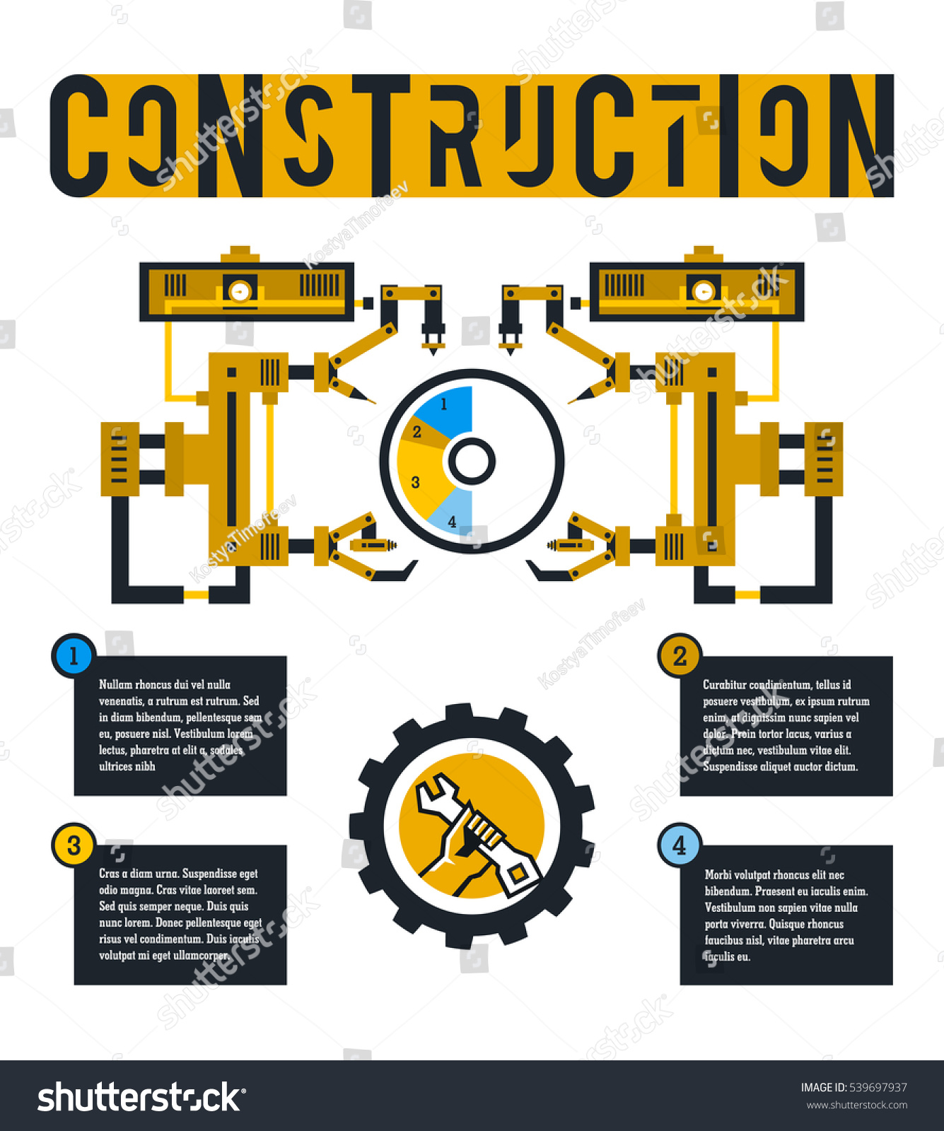 stock vector vector illustration infographic on the construction site diagram surrounded by robotic arms 539697937 arcu 5 wiring diagrams wiring diagrams Ammeter Gauge Wiring Diagram at eliteediting.co