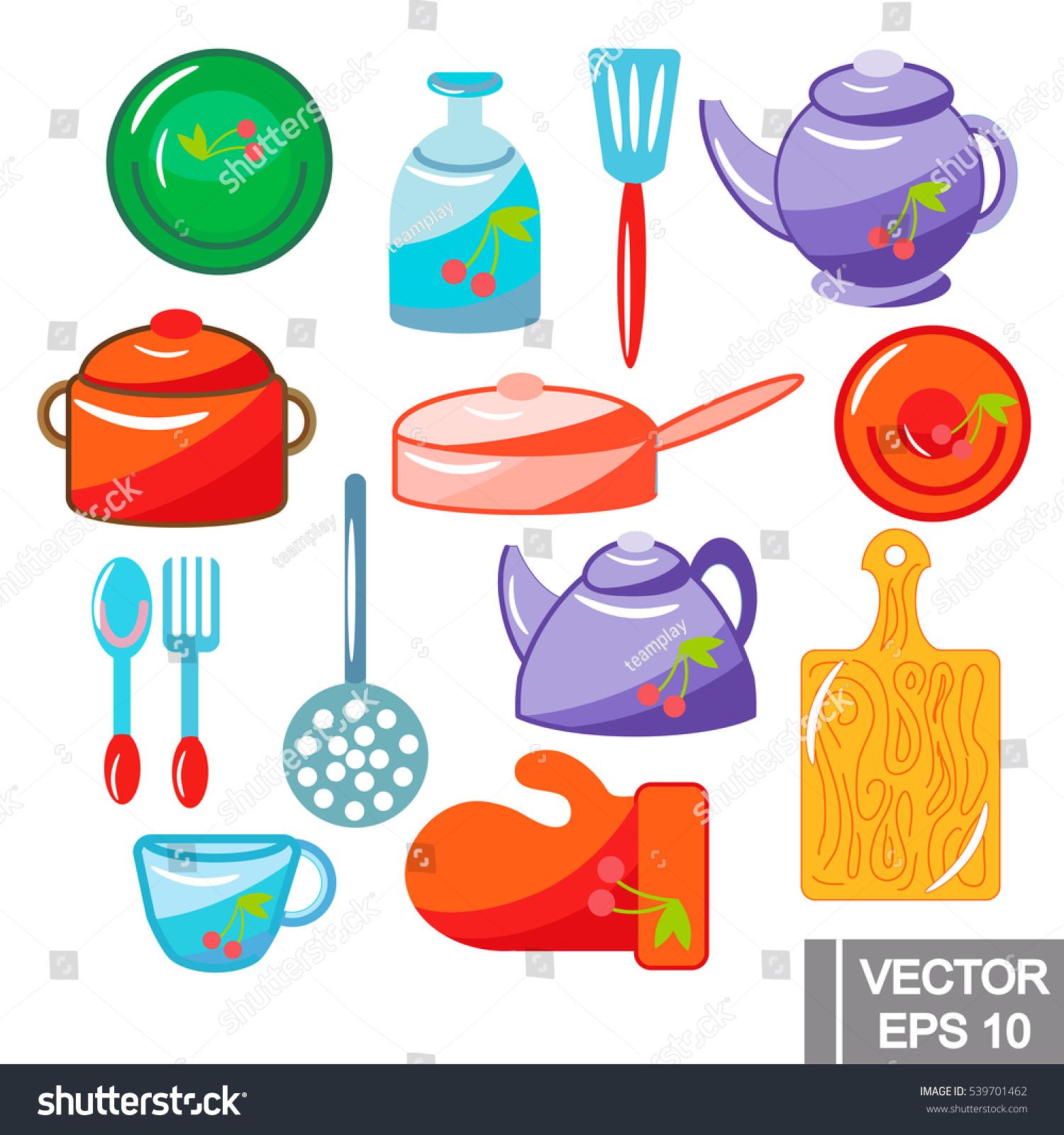 Vector kitchen set colored illustration on stock vector for Kitchen set vector