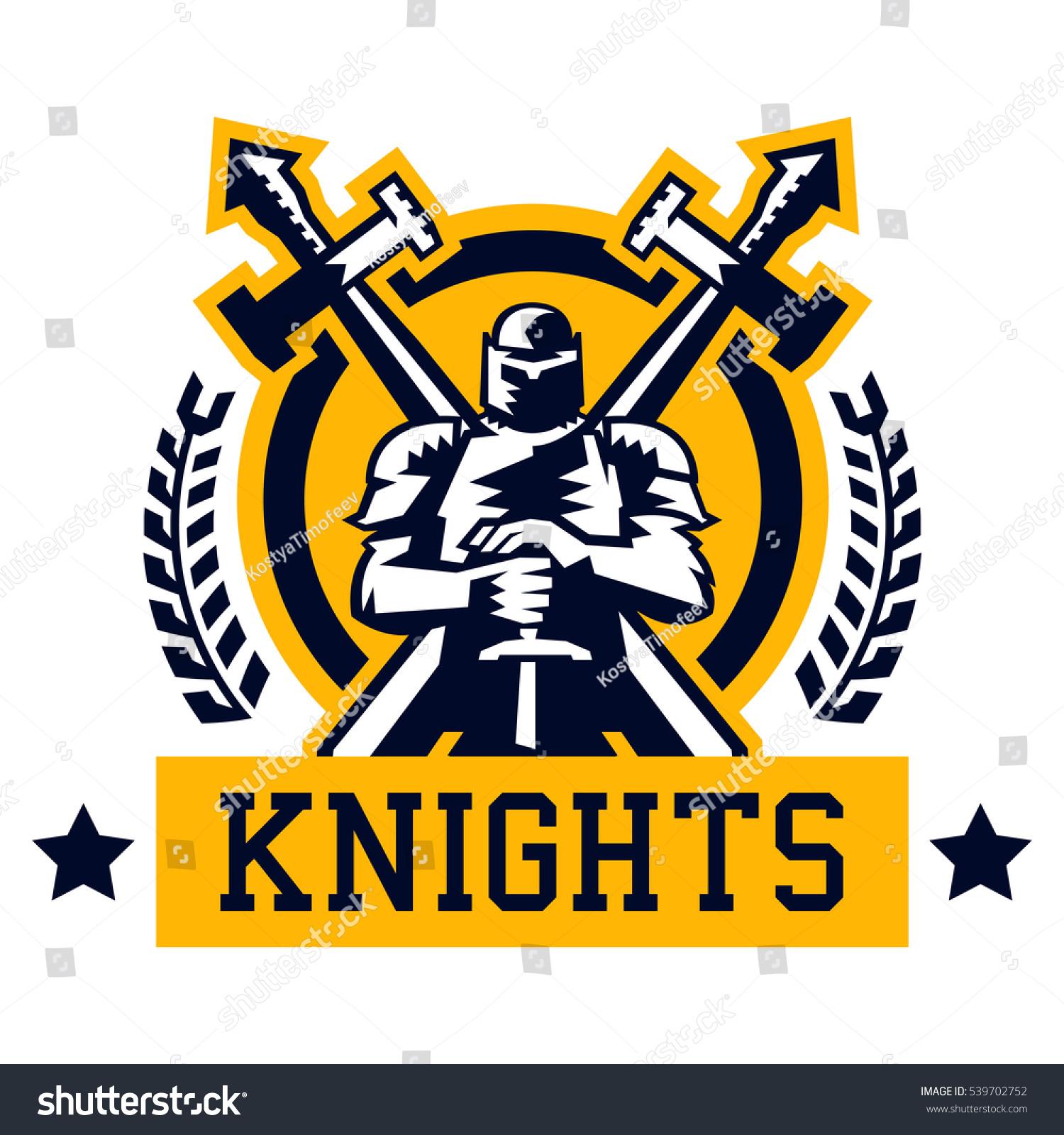 Knight Logo Warrior Iron Heavy Armor Stock Vector