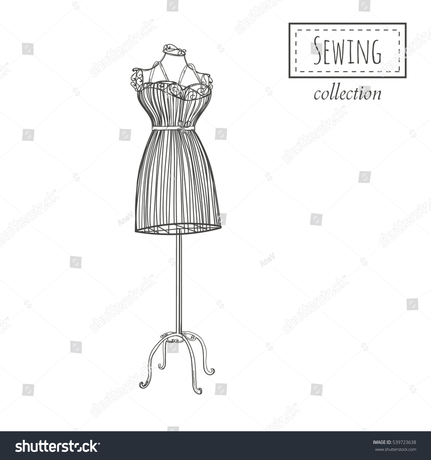 hand drawn retro mannequin vector template stock vector royalty
