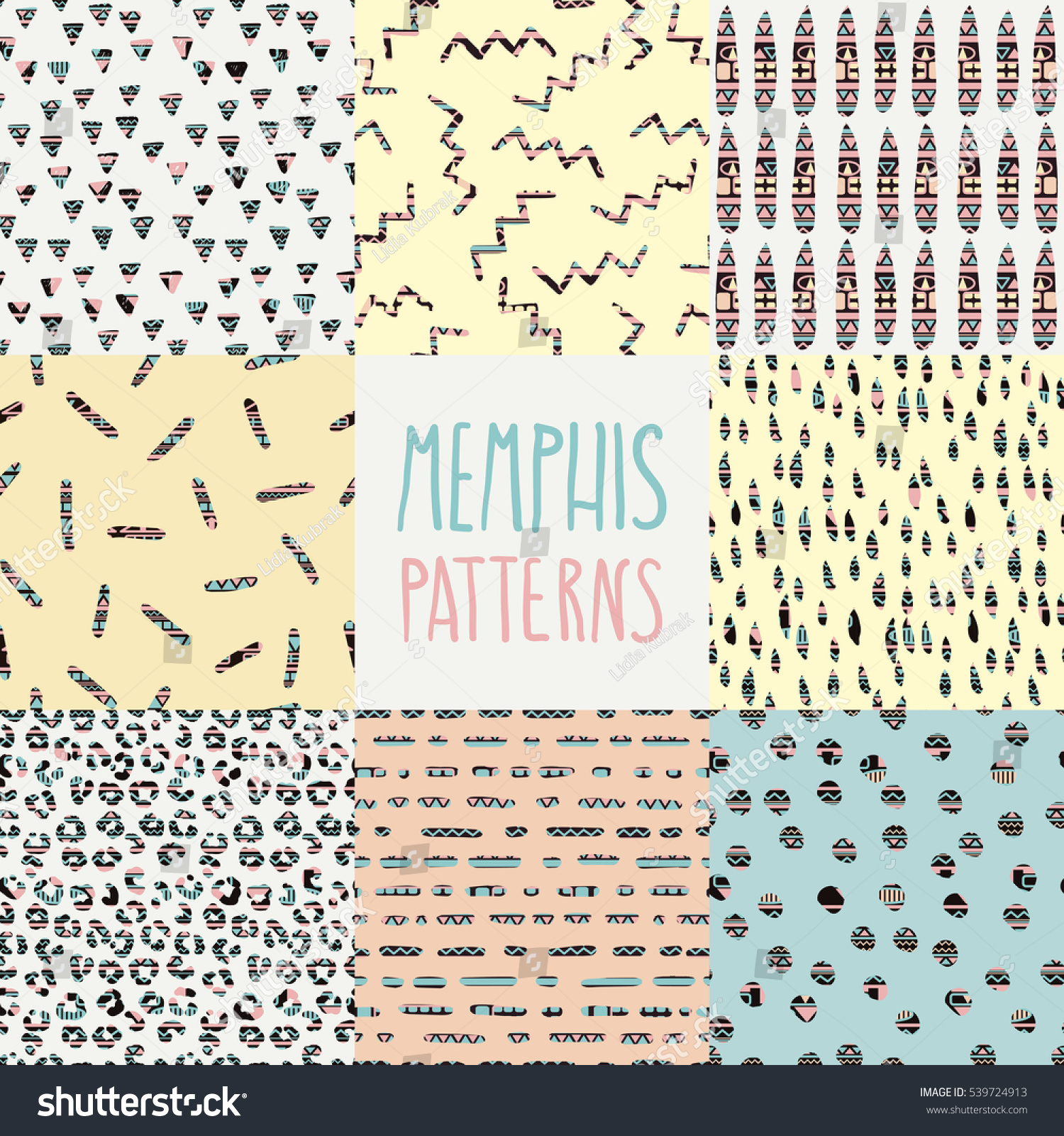 Abstract seamless pattern memphis style hand stock vector for Design home gift paper inc