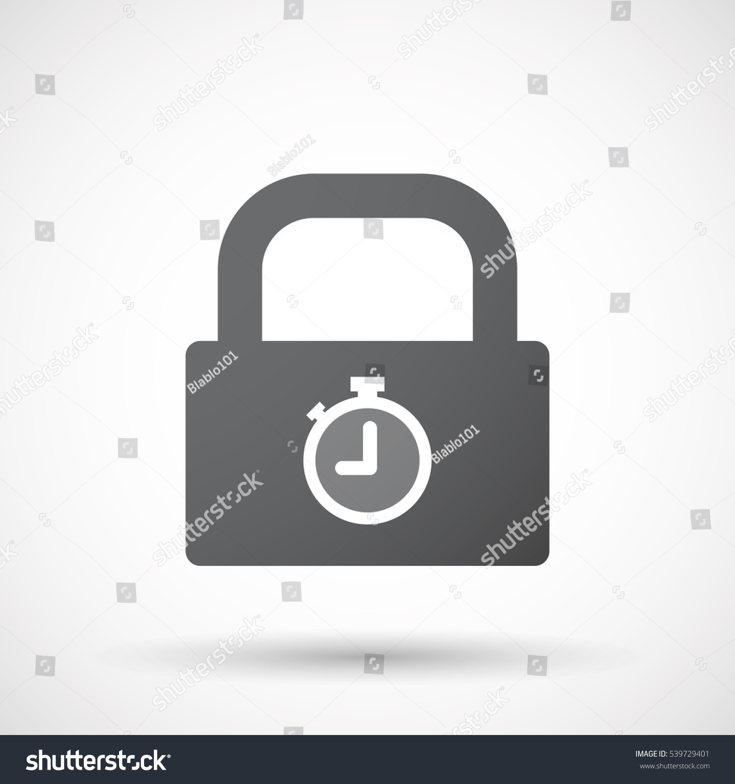 illustration isolated lock pad timer stock vector 539729401