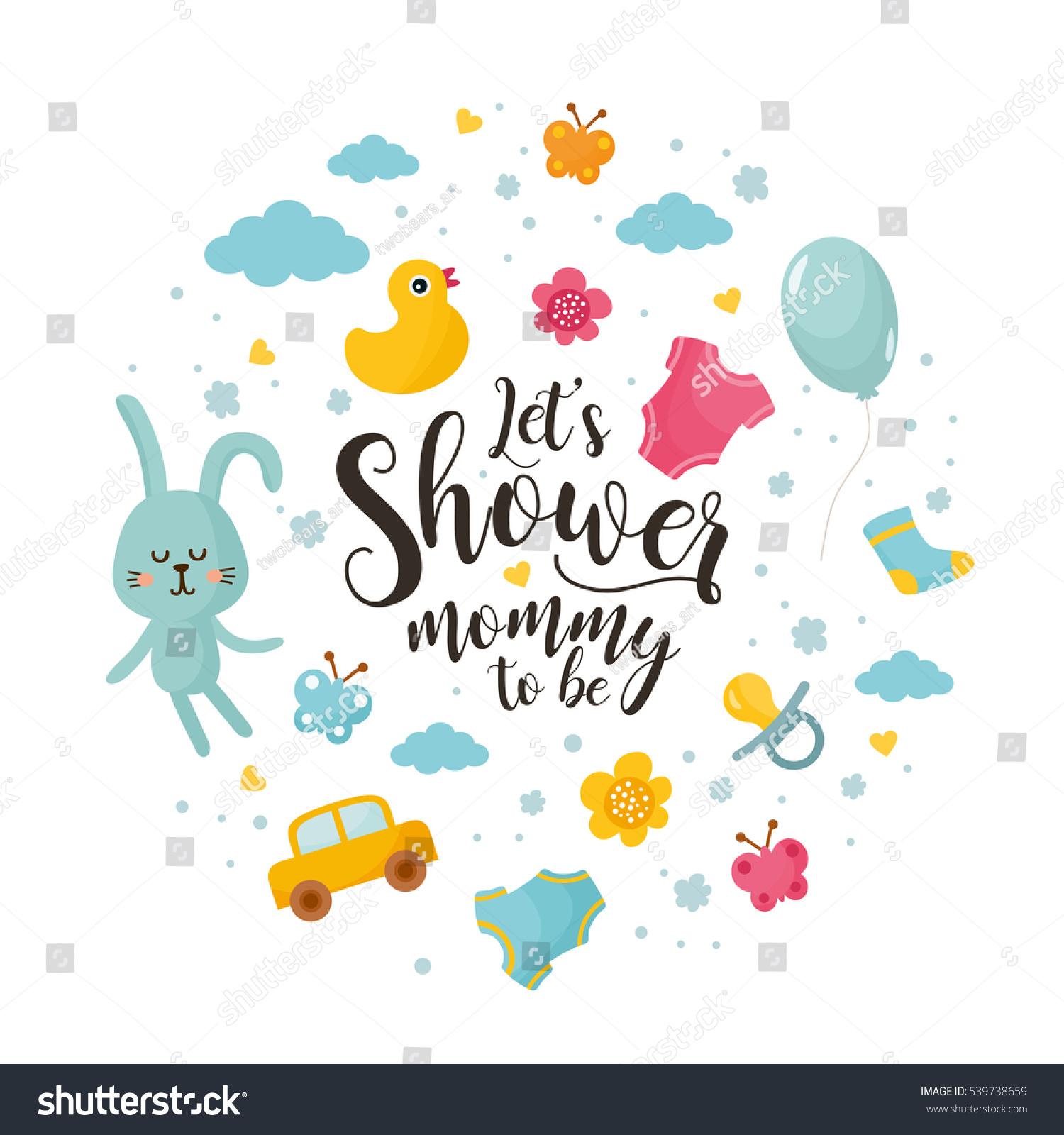 baby shower concept lets shower mommy stock vector 539738659 shutterstock. Black Bedroom Furniture Sets. Home Design Ideas