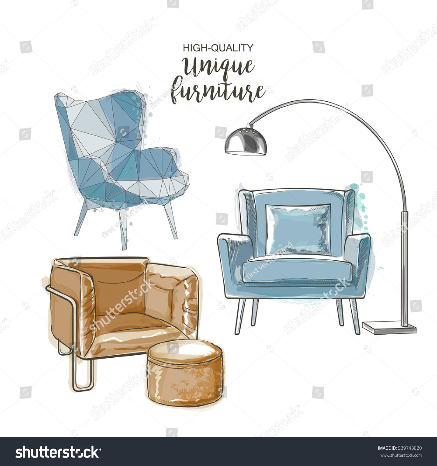 Set Hand Drawn Furniture Interior Detail Stock Vector 539748820 ...