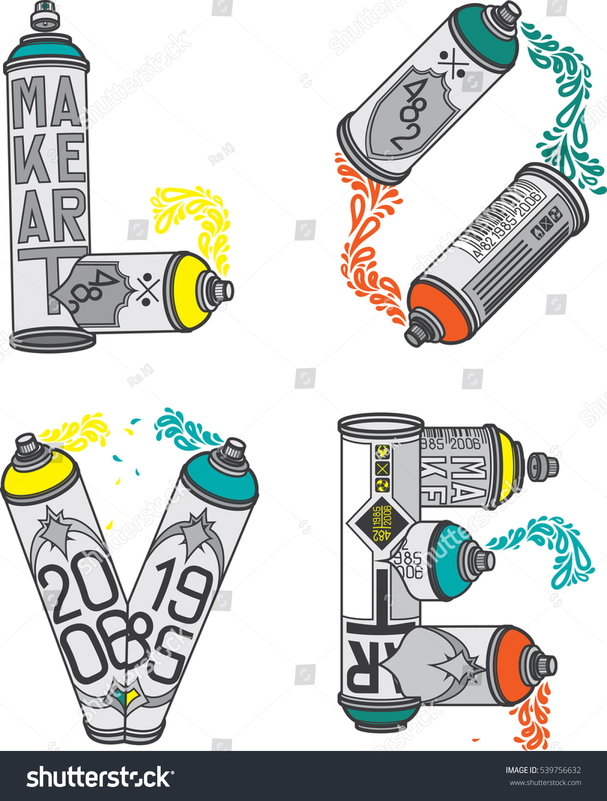 Vector aerosol cans that stylized word stock vector 539756632 vector aerosol cans that stylized word love consisting of cans spray paint and caps ccuart Image collections