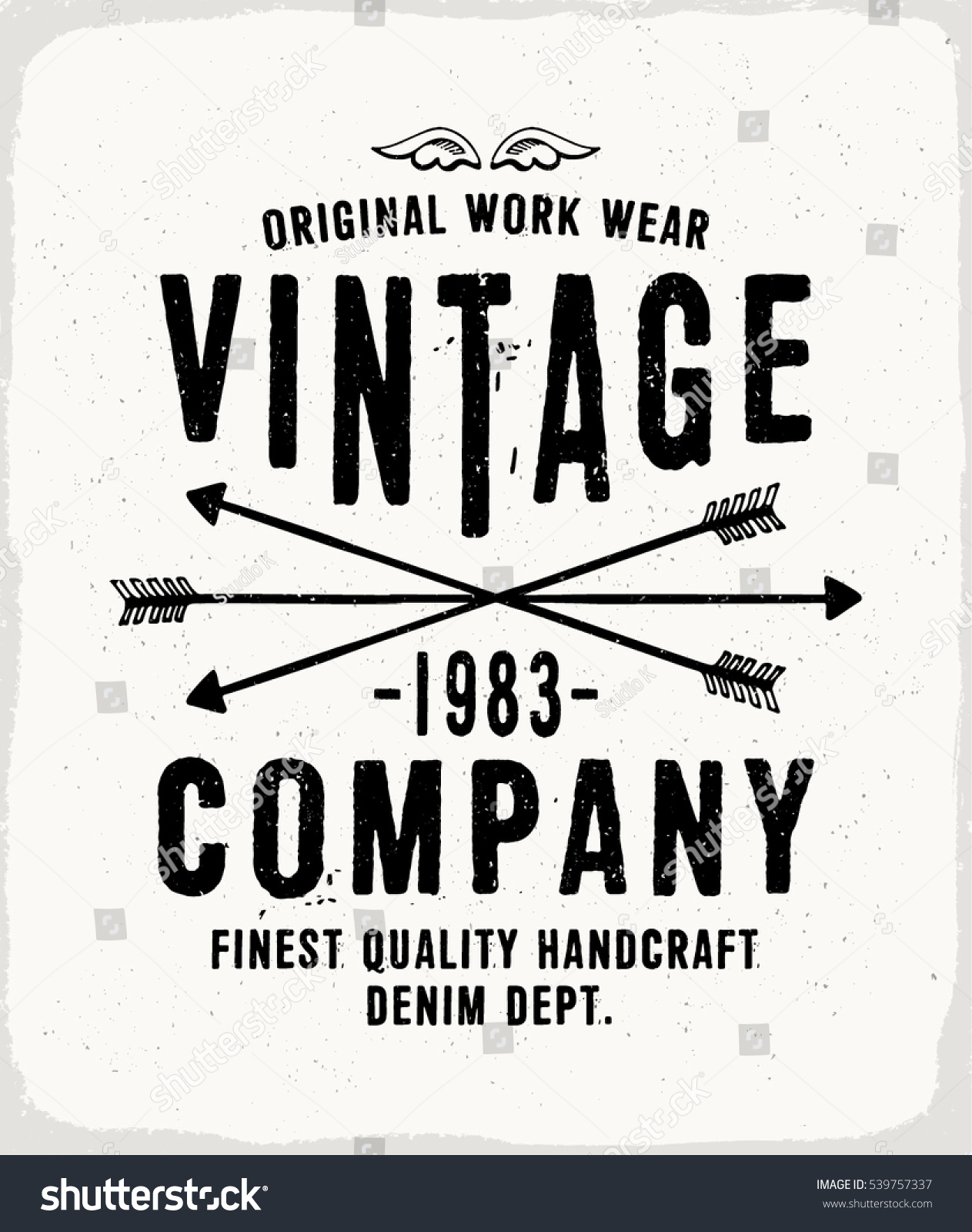 3f8d0239 Vintage Denim print for t-shirt or apparel. Retro artwork in black and white  for fashion and printing. Old school vector with traditional theme and ...