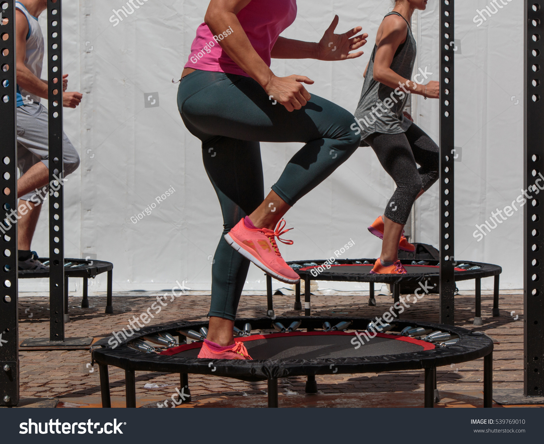 mini trampoline workout girl doing fitness stock photo 539769010 shutterstock. Black Bedroom Furniture Sets. Home Design Ideas