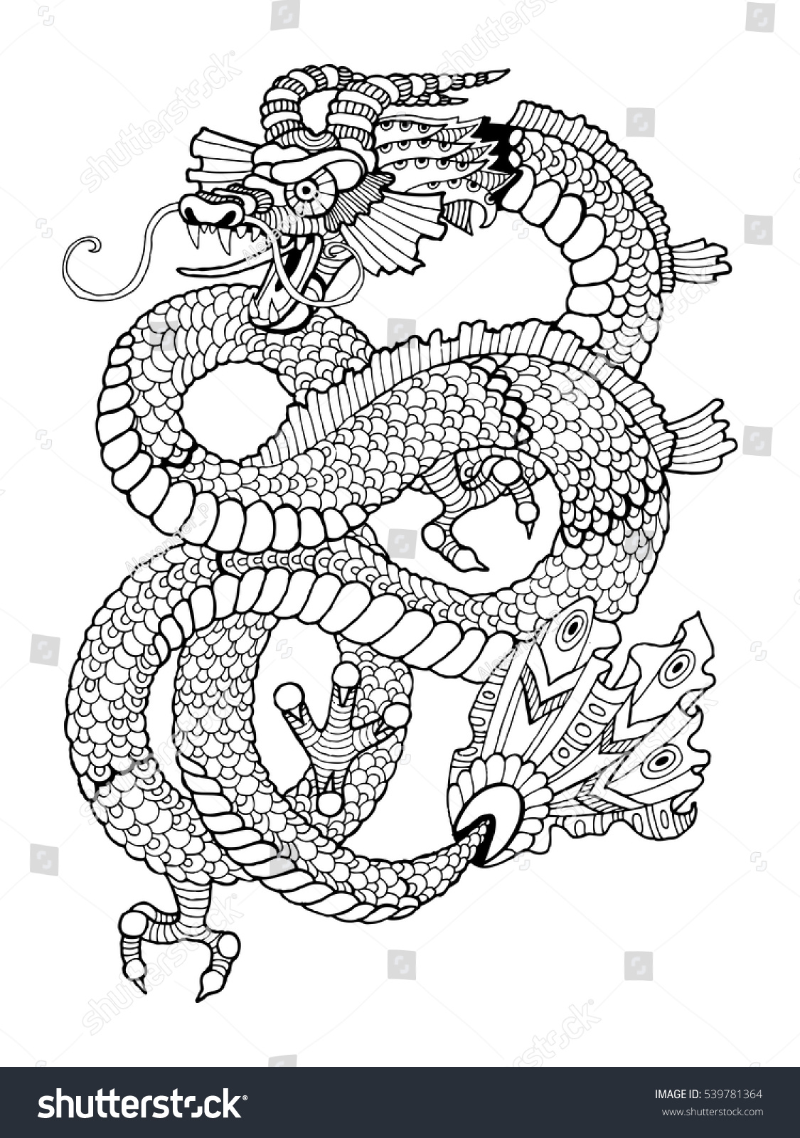 Dragon Coloring Book For Adults Vector Illustration Anti Stress Adult Tattoo