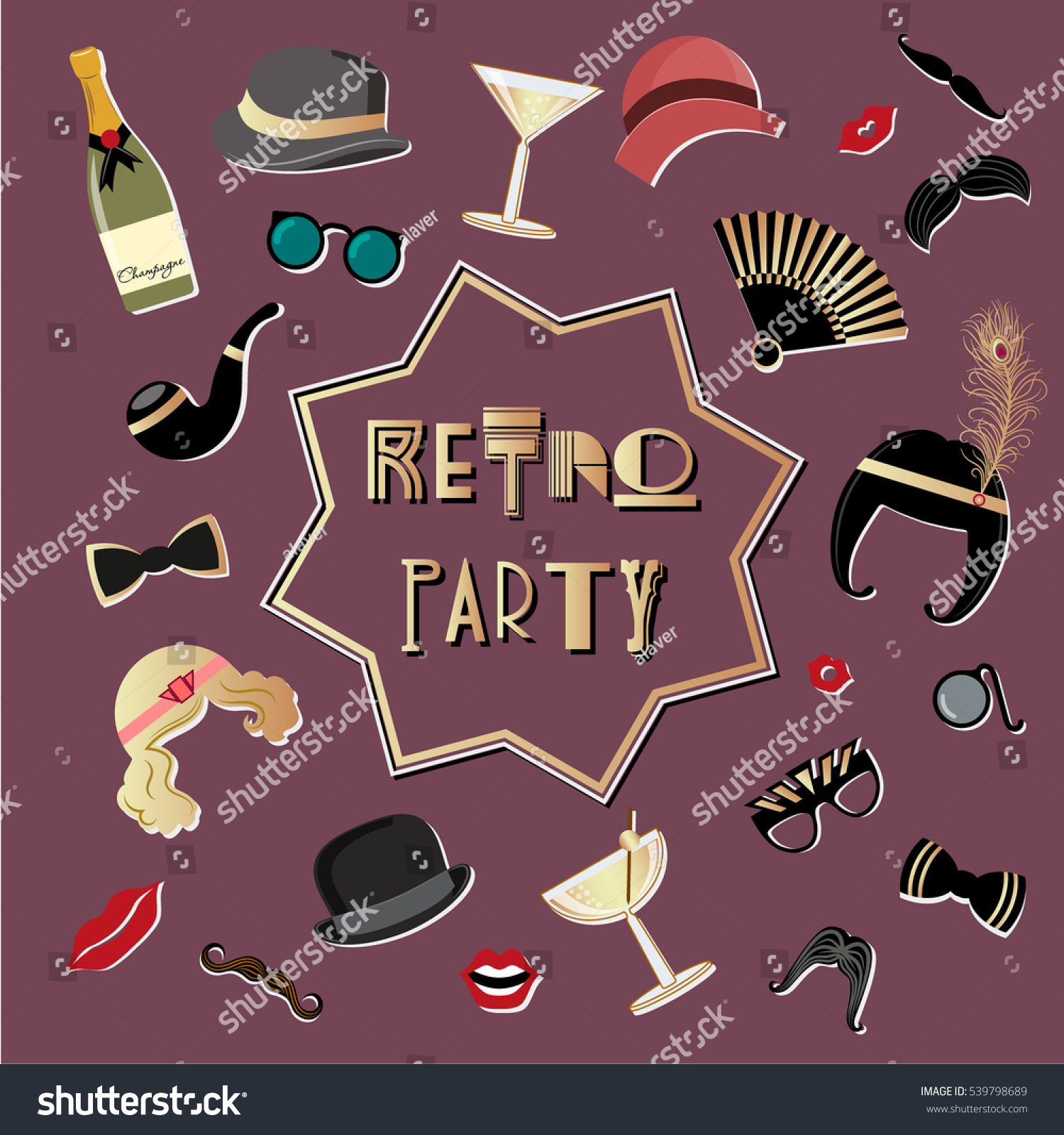 Vector set of elements for a retro party Suitable for flyers banners illustrations photo booth props Art Deco style