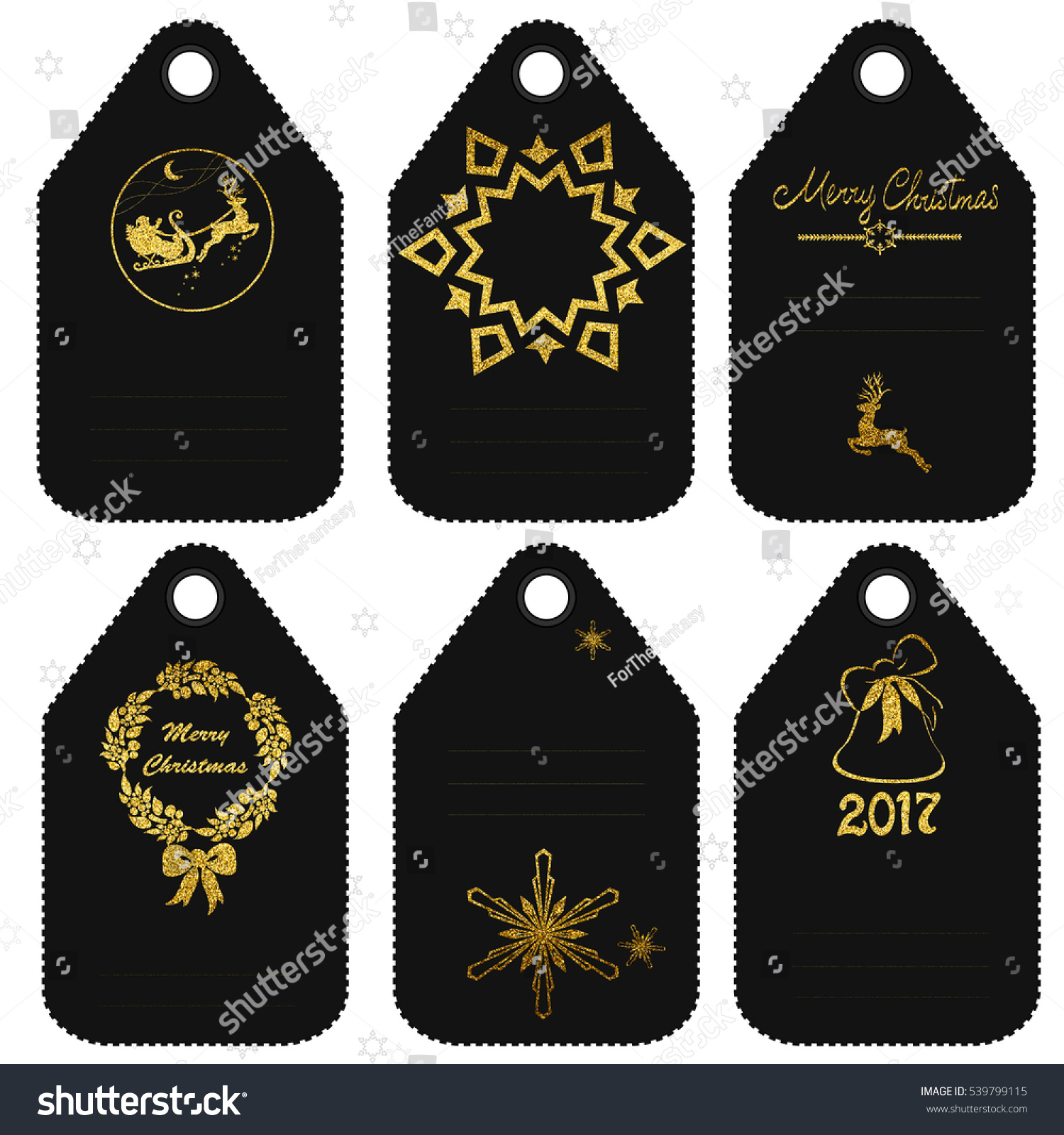 happy new year 2017 labels gold and black calligraphic lettering design