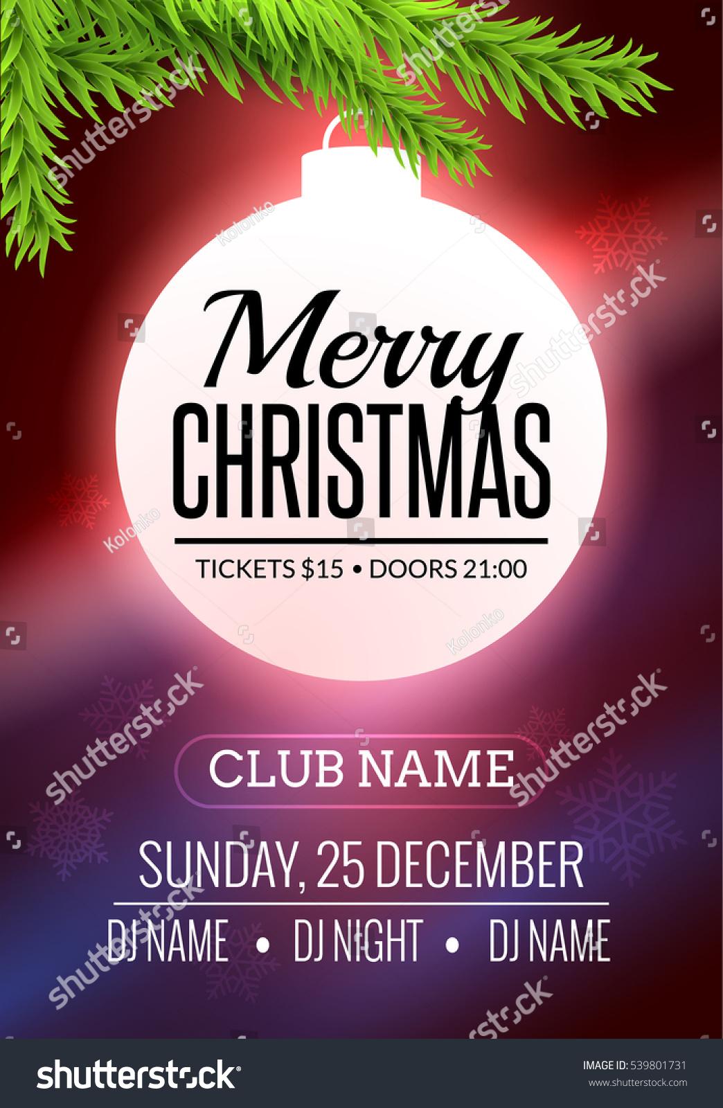 Christmas Party Poster Design Xmas Ball Stock Vector Hd Royalty