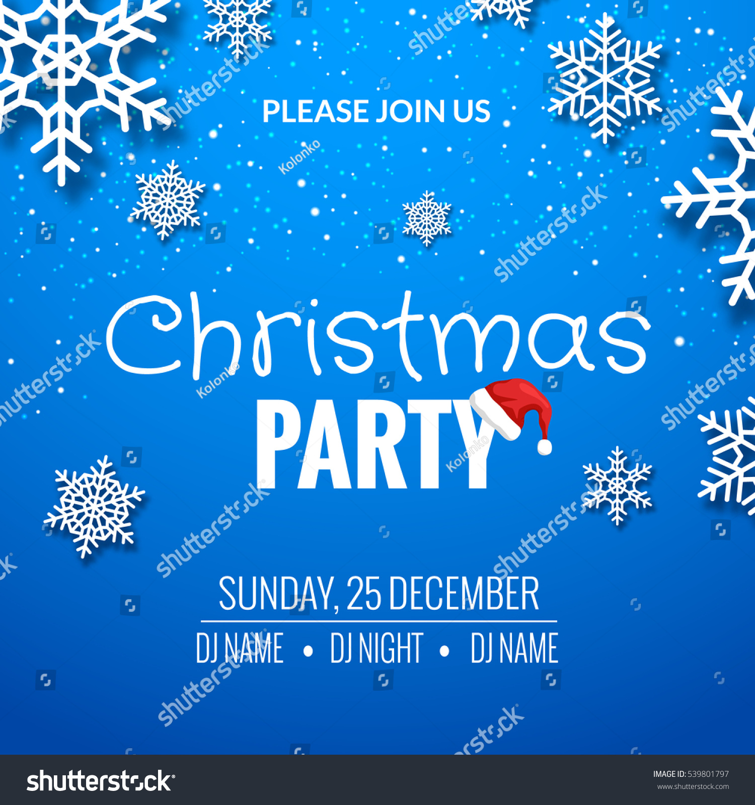 Christmas Party Invitation Poster Design Retro Stock Vector ...