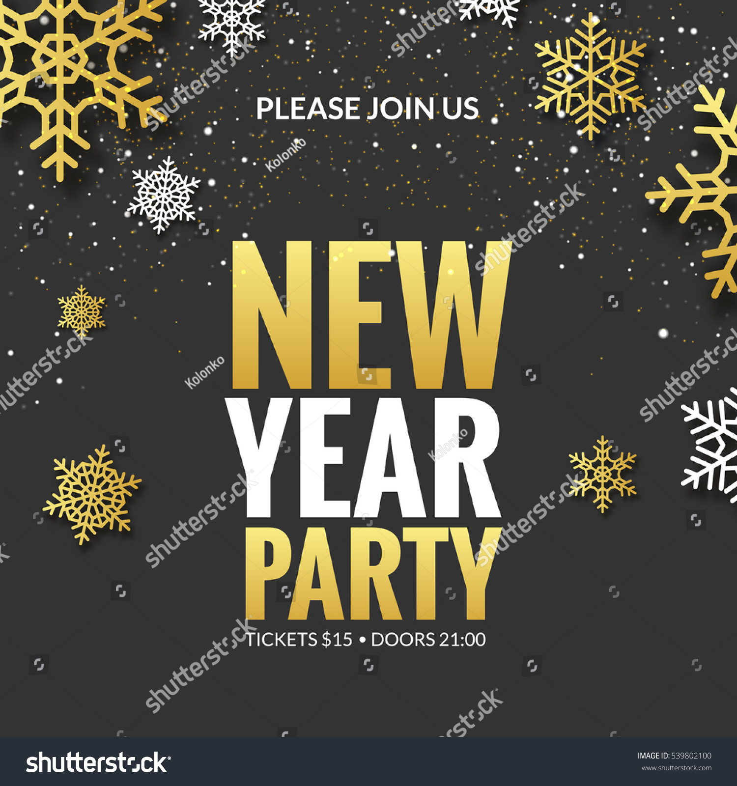 New Year Party Invitation Poster Design Stock Vector 539802100 ...