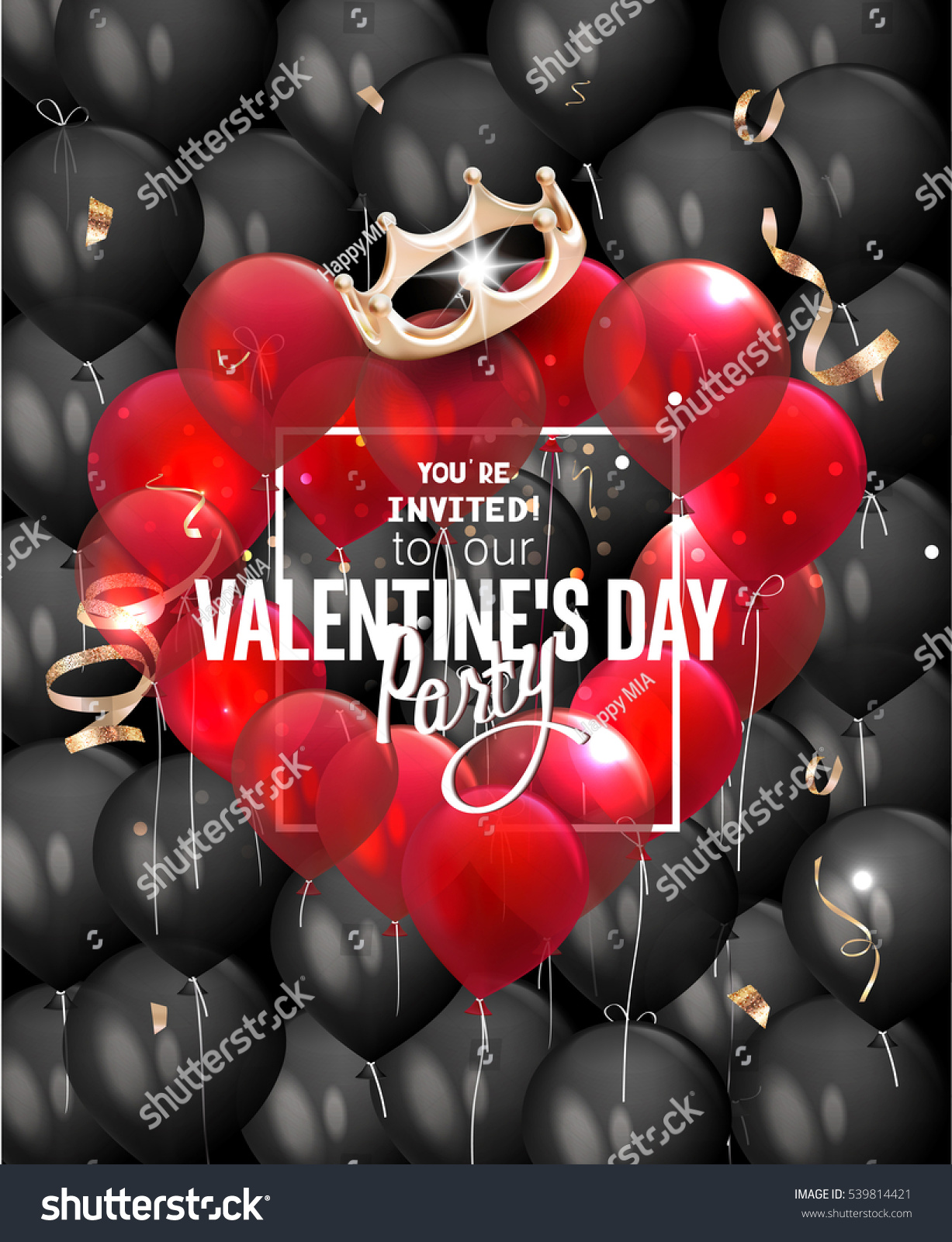 Valentines Day Party Invitation Card Red Stock Vector 539814421 ...