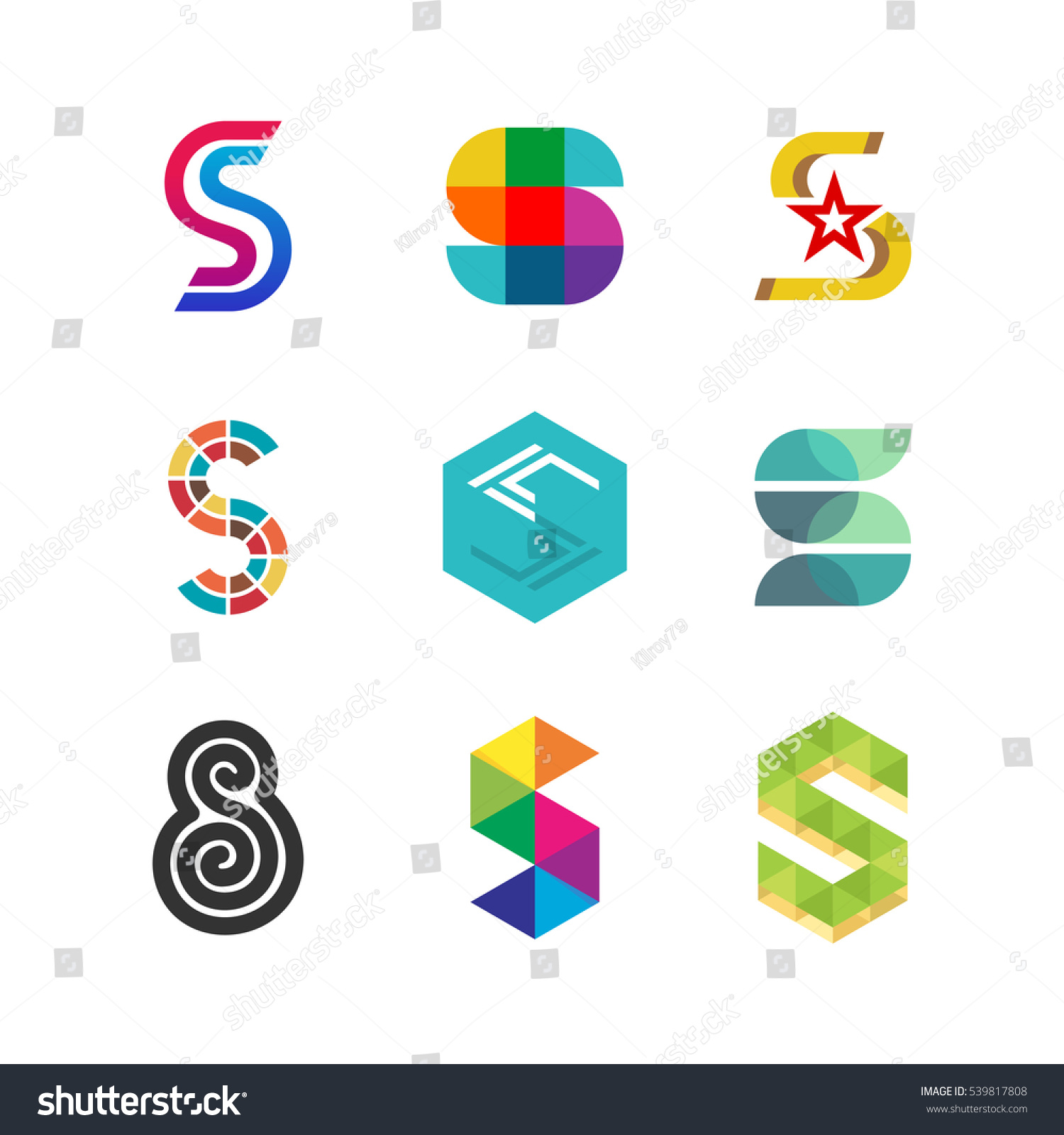 Letter S Logo Set Color Icon Stock Vector Royalty Free 539817808