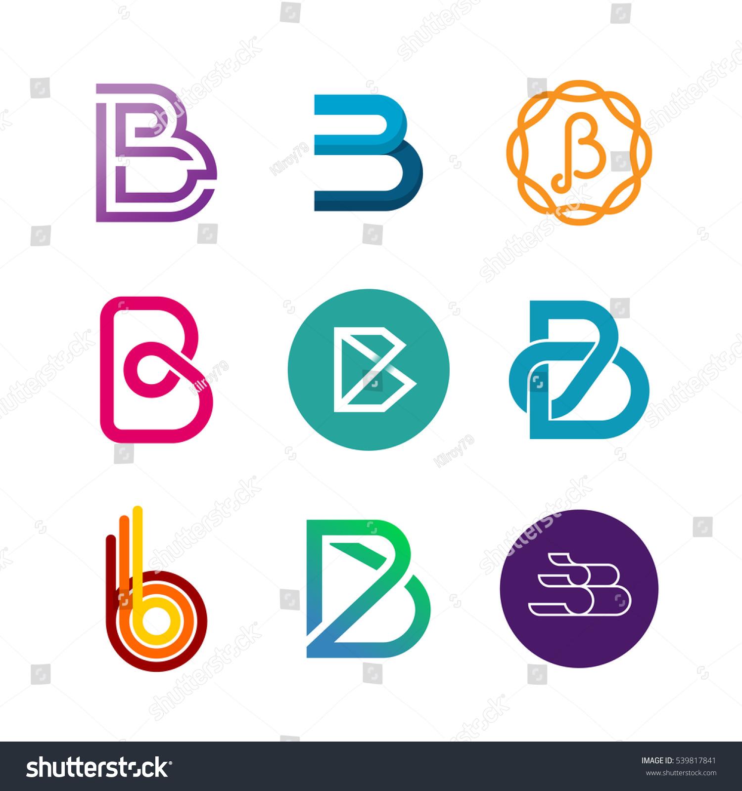 Letter B Logo Set Color Icon Stock Vector 539817841
