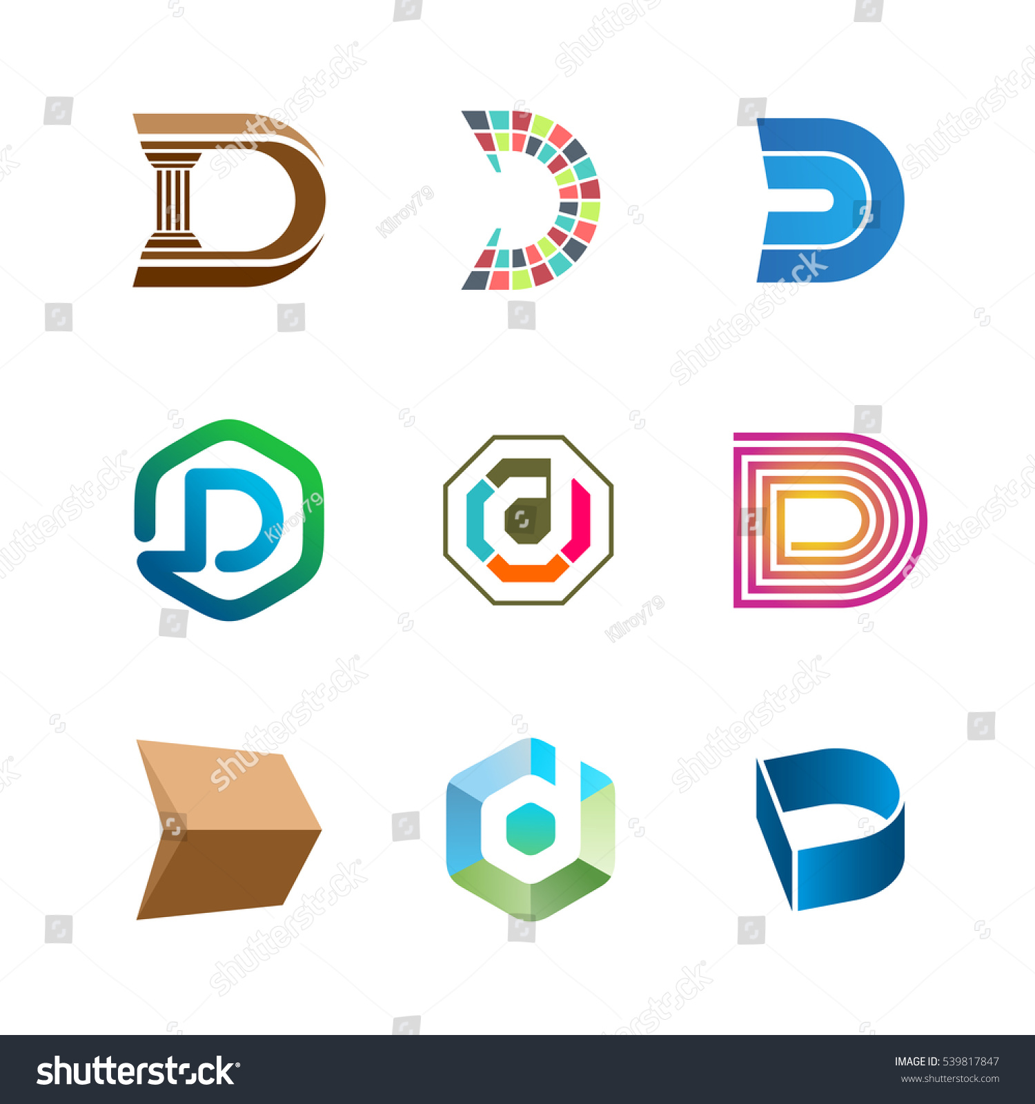 letter d logo set color icon のベクター画像素材 ロイヤリティフリー