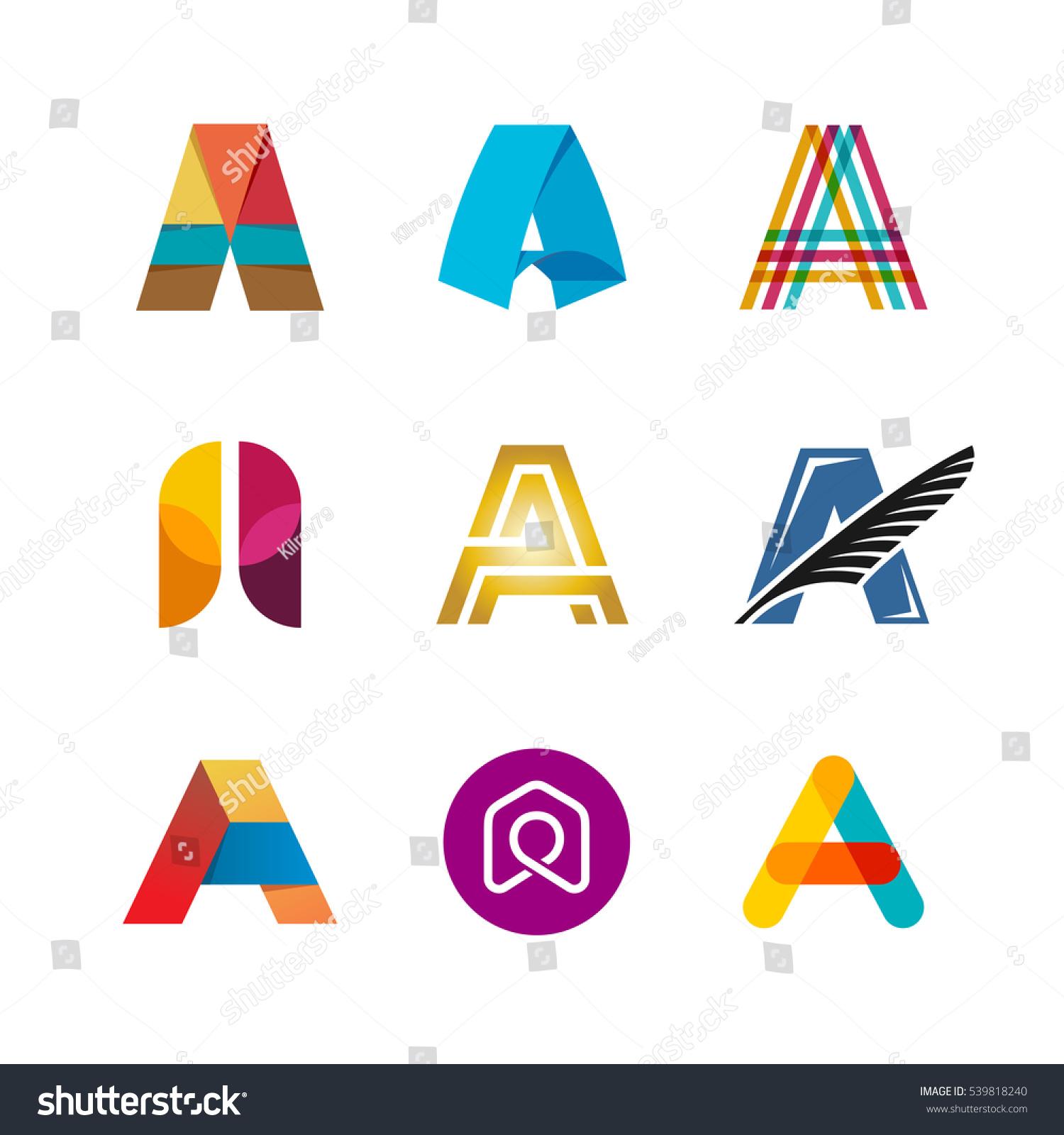 Letter Logo Set Color Icon Templates Stock Vector 539818240 ...