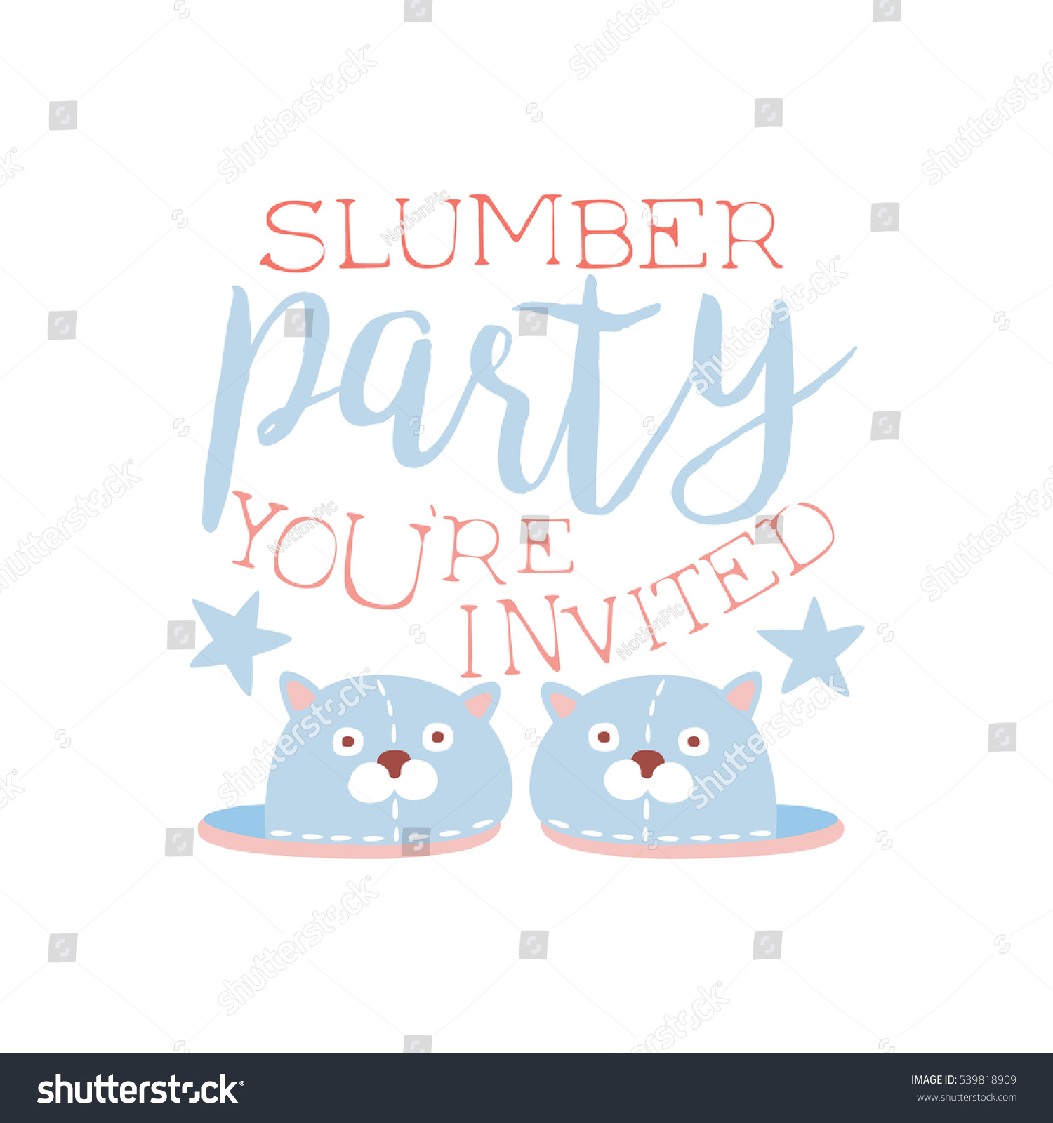 Girly Pajama Party Invitation Card Template Stock Vector HD (Royalty ...