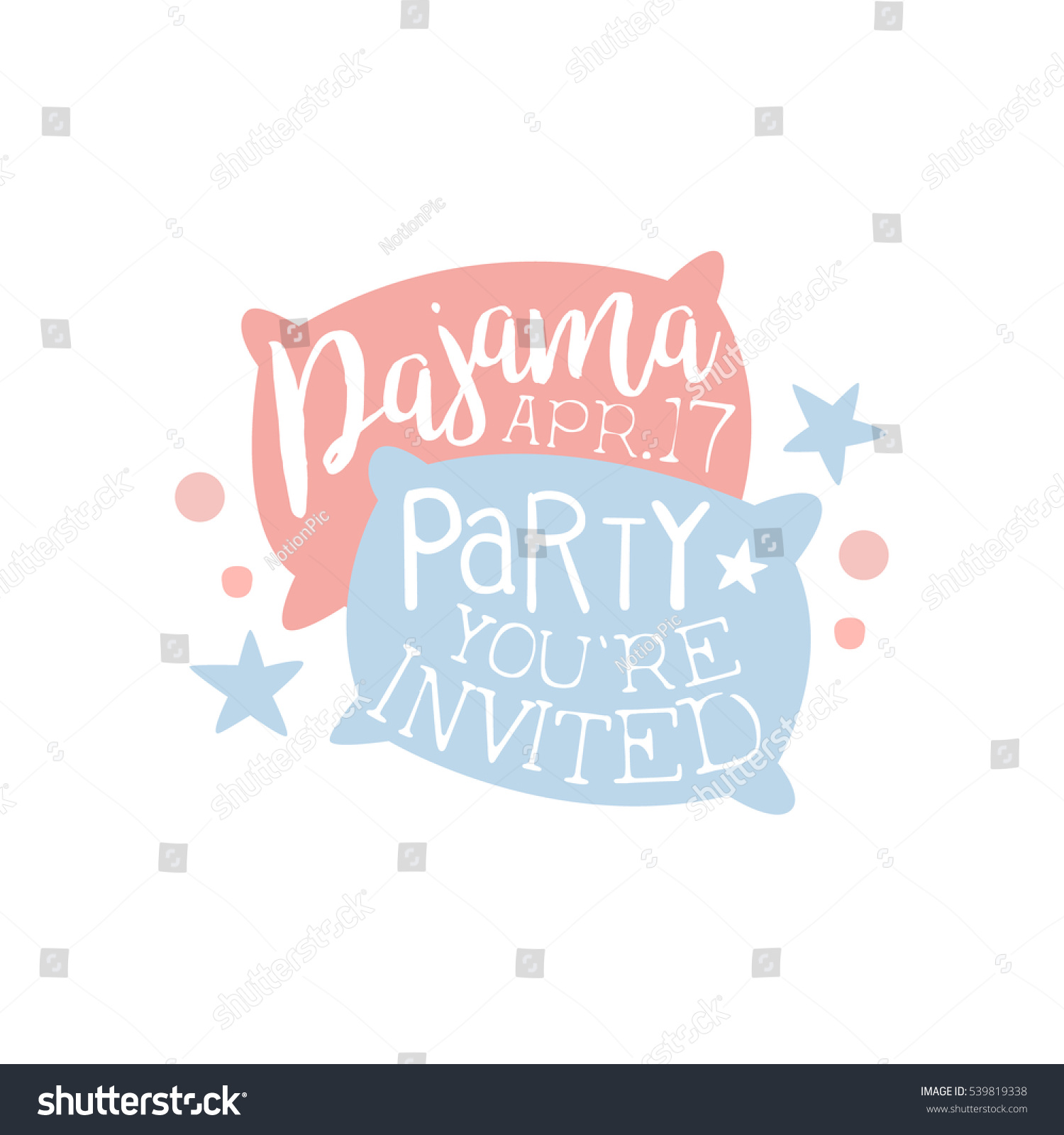 Girly Pajama Party Invitation Card Template Stock Vector 539819338 ...