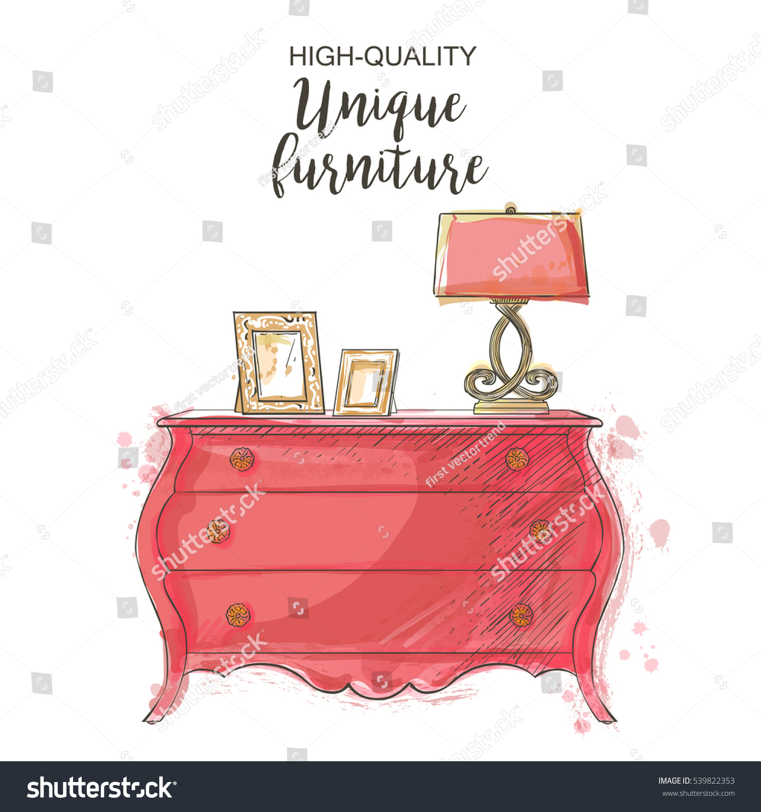 Elegant Antique Vintage Vector Chest Isolated Stock Vector ...