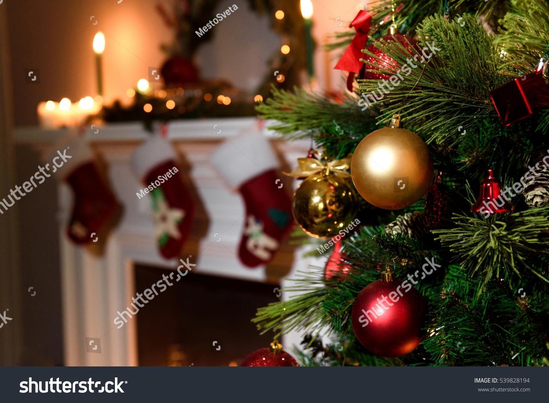 beautiful decorated fireplace christmas tree cottage stock photo