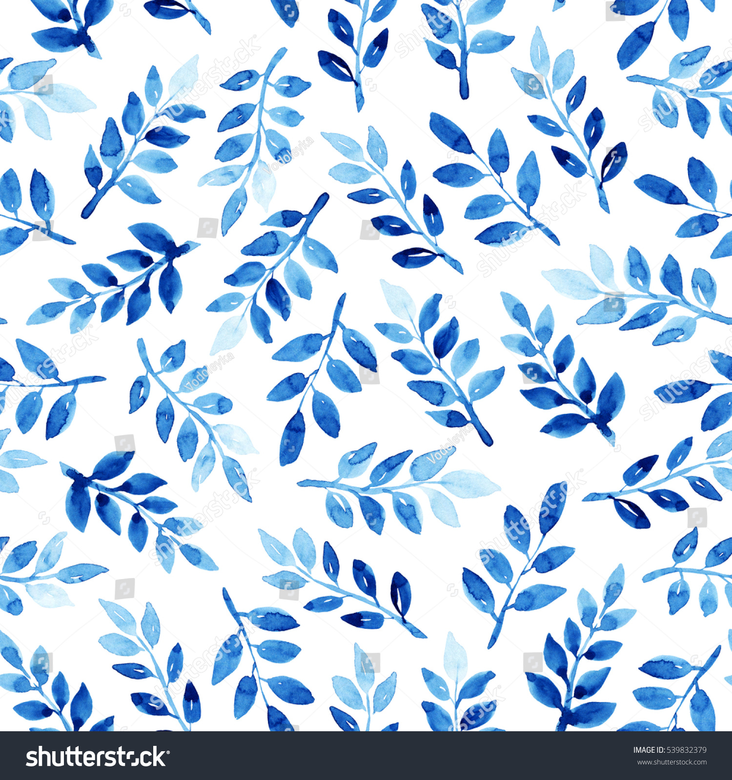 Watercolor Seamless Pattern With Leaves Blue On The White Background Handmade Texture Template For Textile Wallpaper Wrapping Paper Etc