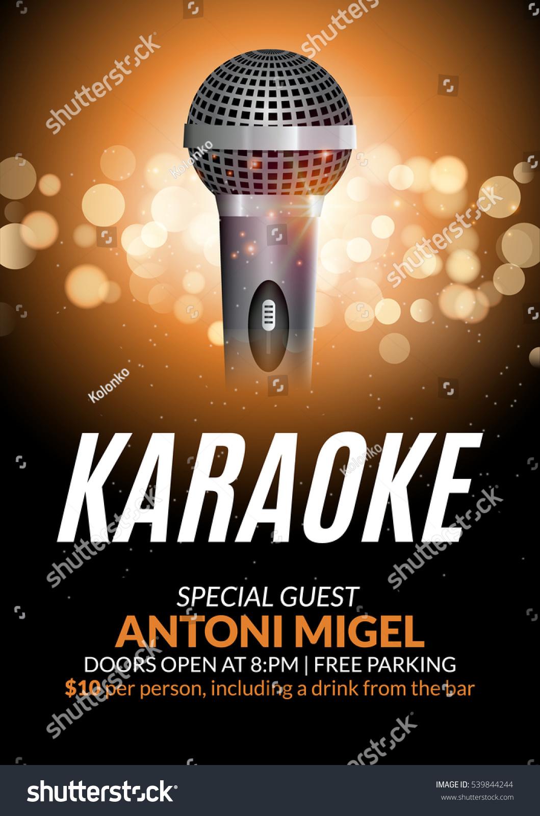 Karaoke Party Invitation Poster Design Template Stock ...   1059 x 1600 jpeg 422kB
