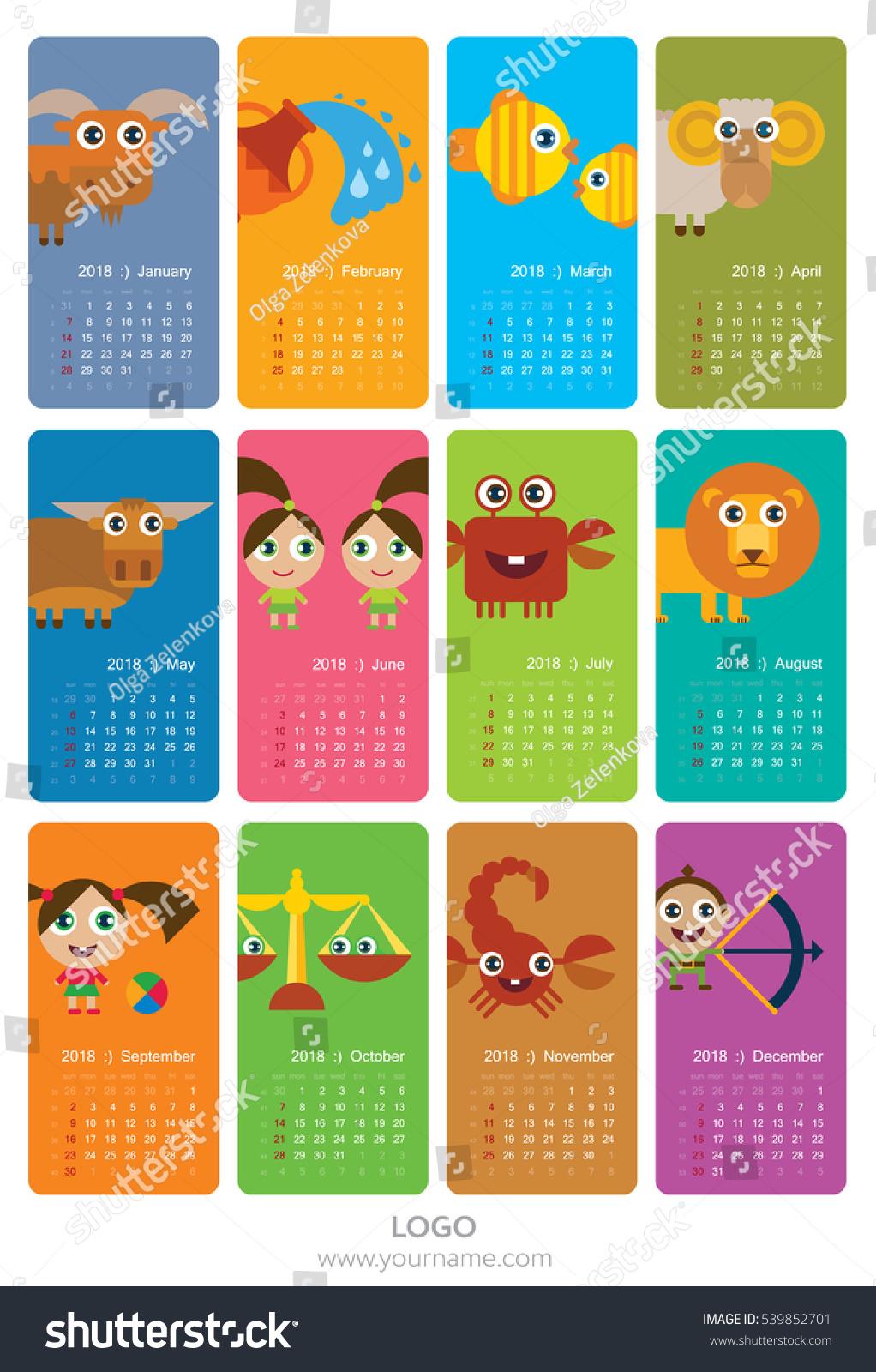 Wall calendar 2018 with funny horoscope… Stock Photo 539852701