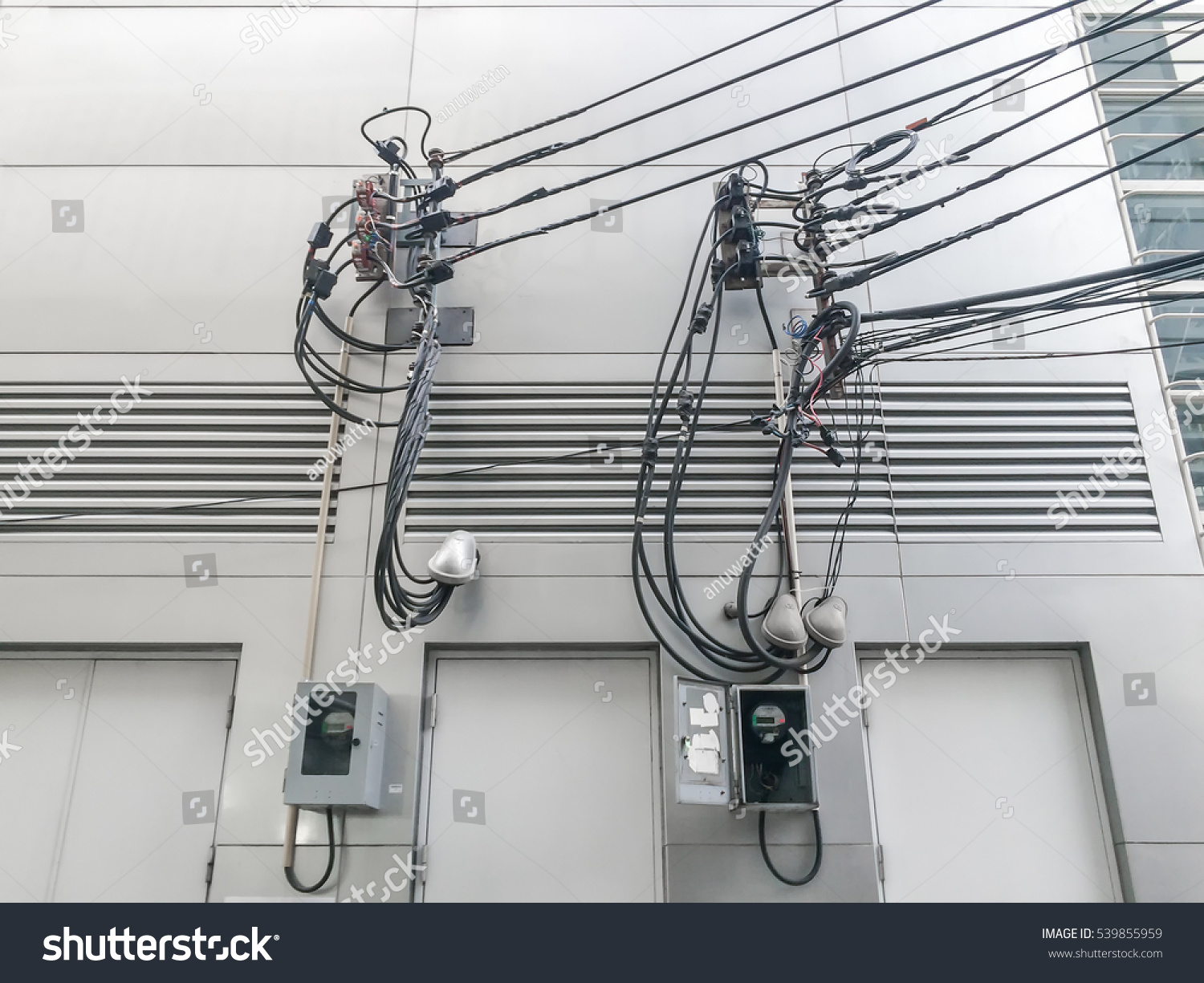 Electric Wire Cable Lines Outside Building Stock Photo (Edit Now ...