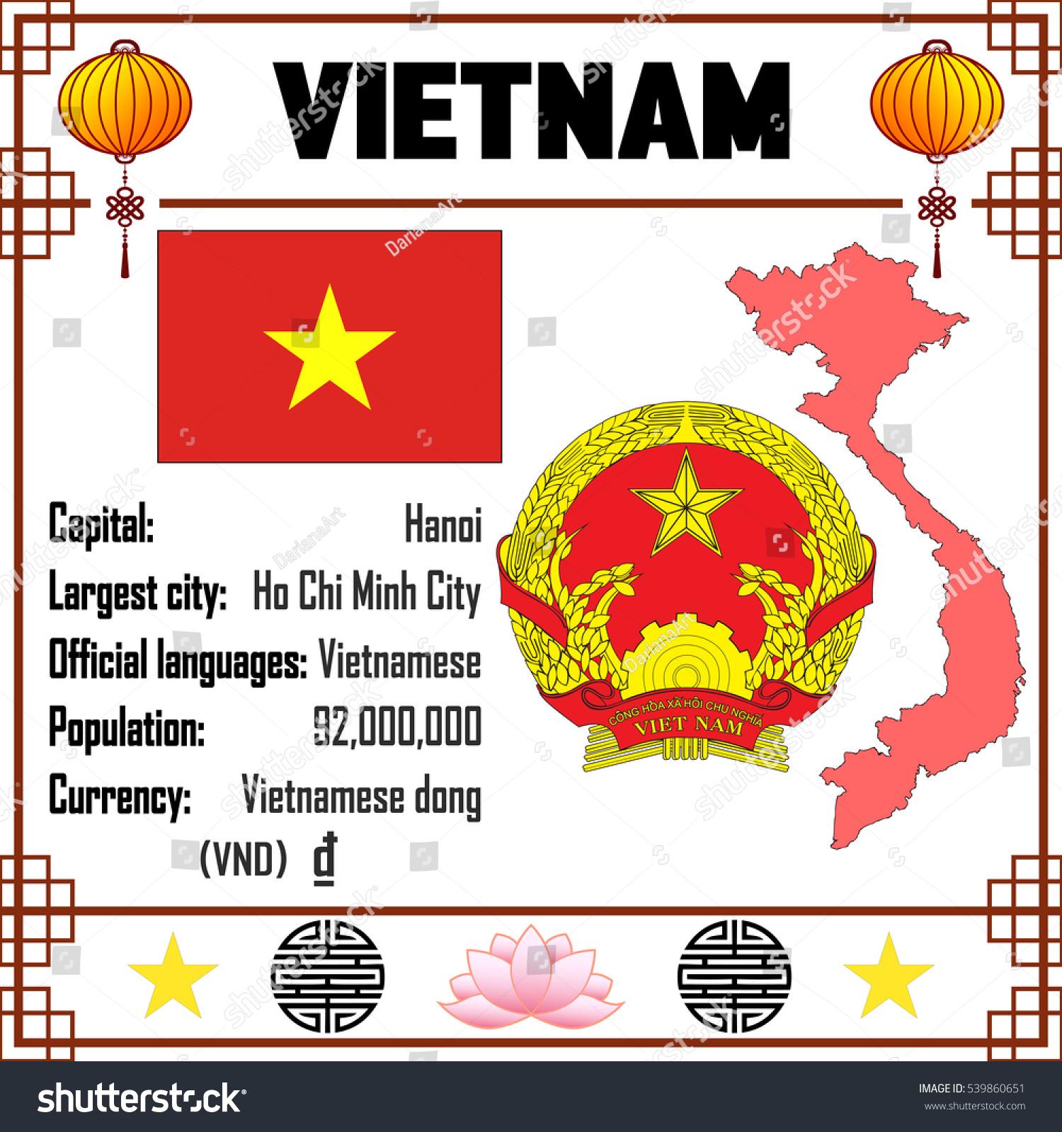 Vietnam Set Map Signs Symbols Stock Vector Royalty Free 539860651